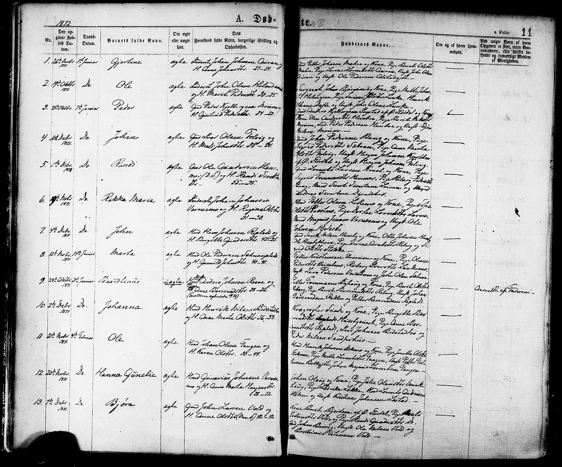 SAT, Ministerialprotokoller, klokkerbøker og fødselsregistre - Nord-Trøndelag, 709/L0076: Ministerialbok nr. 709A16, 1871-1879, s. 11