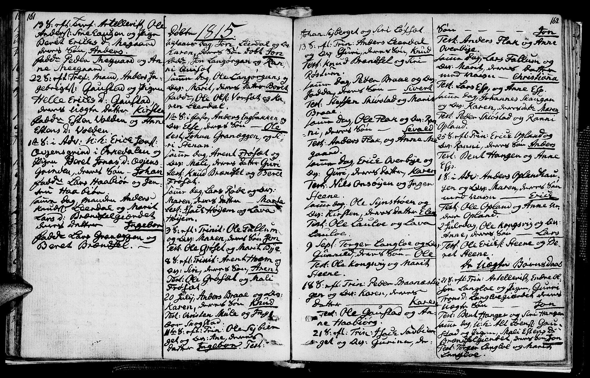 SAT, Ministerialprotokoller, klokkerbøker og fødselsregistre - Sør-Trøndelag, 612/L0371: Ministerialbok nr. 612A05, 1803-1816, s. 161-162