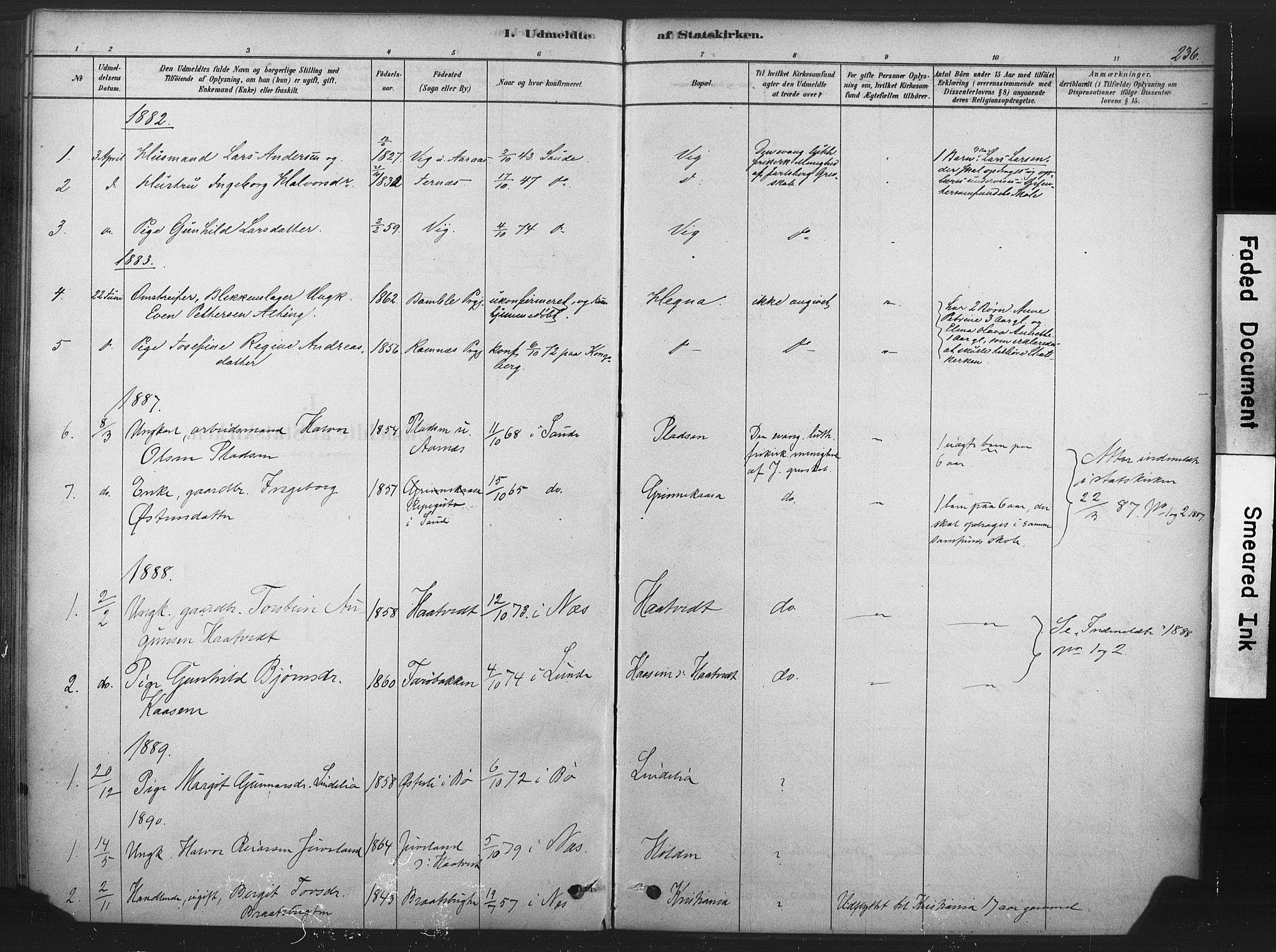 SAKO, Sauherad kirkebøker, F/Fb/L0002: Ministerialbok nr. II 2, 1878-1901, s. 236