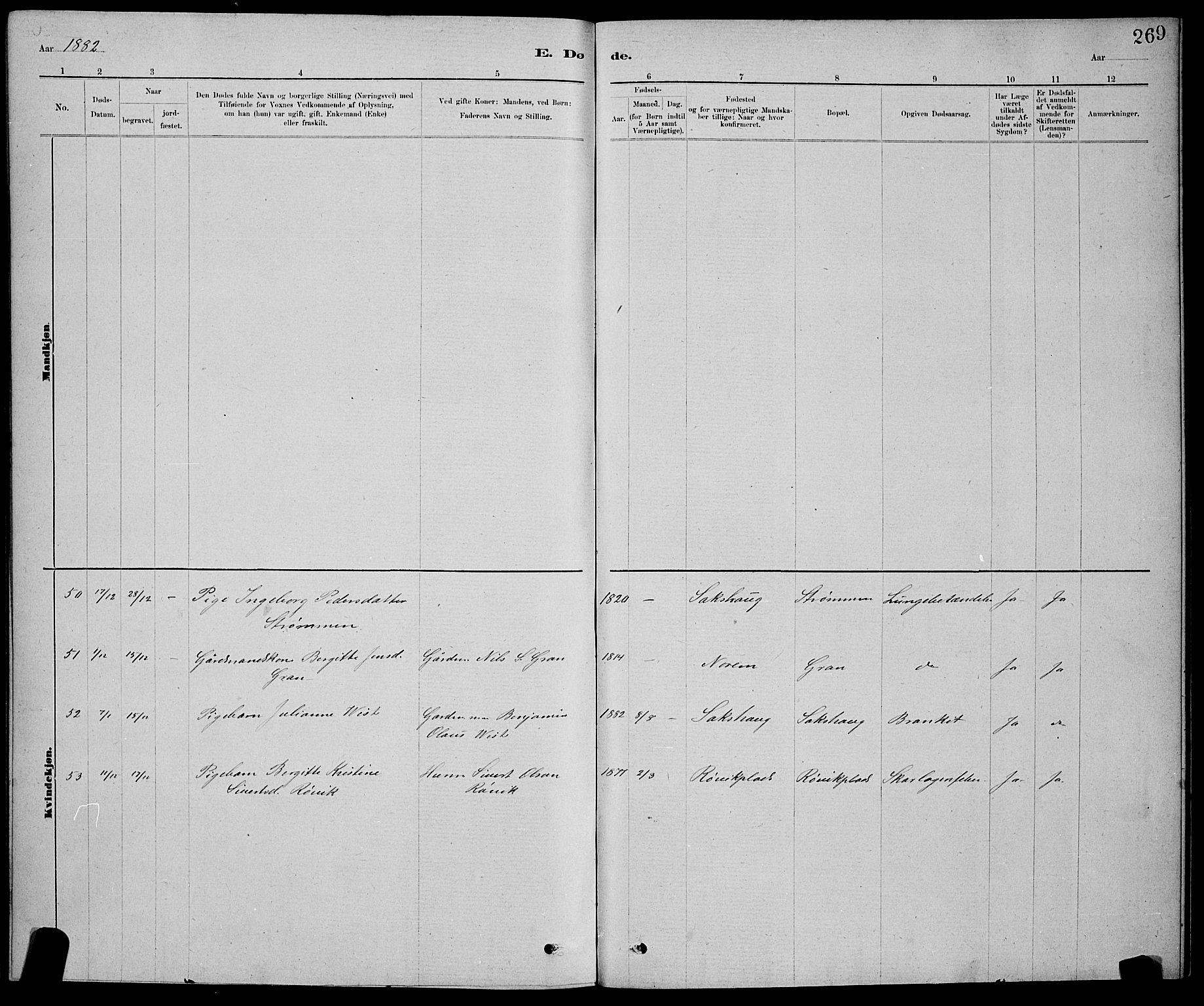 SAT, Ministerialprotokoller, klokkerbøker og fødselsregistre - Nord-Trøndelag, 730/L0301: Klokkerbok nr. 730C04, 1880-1897, s. 269