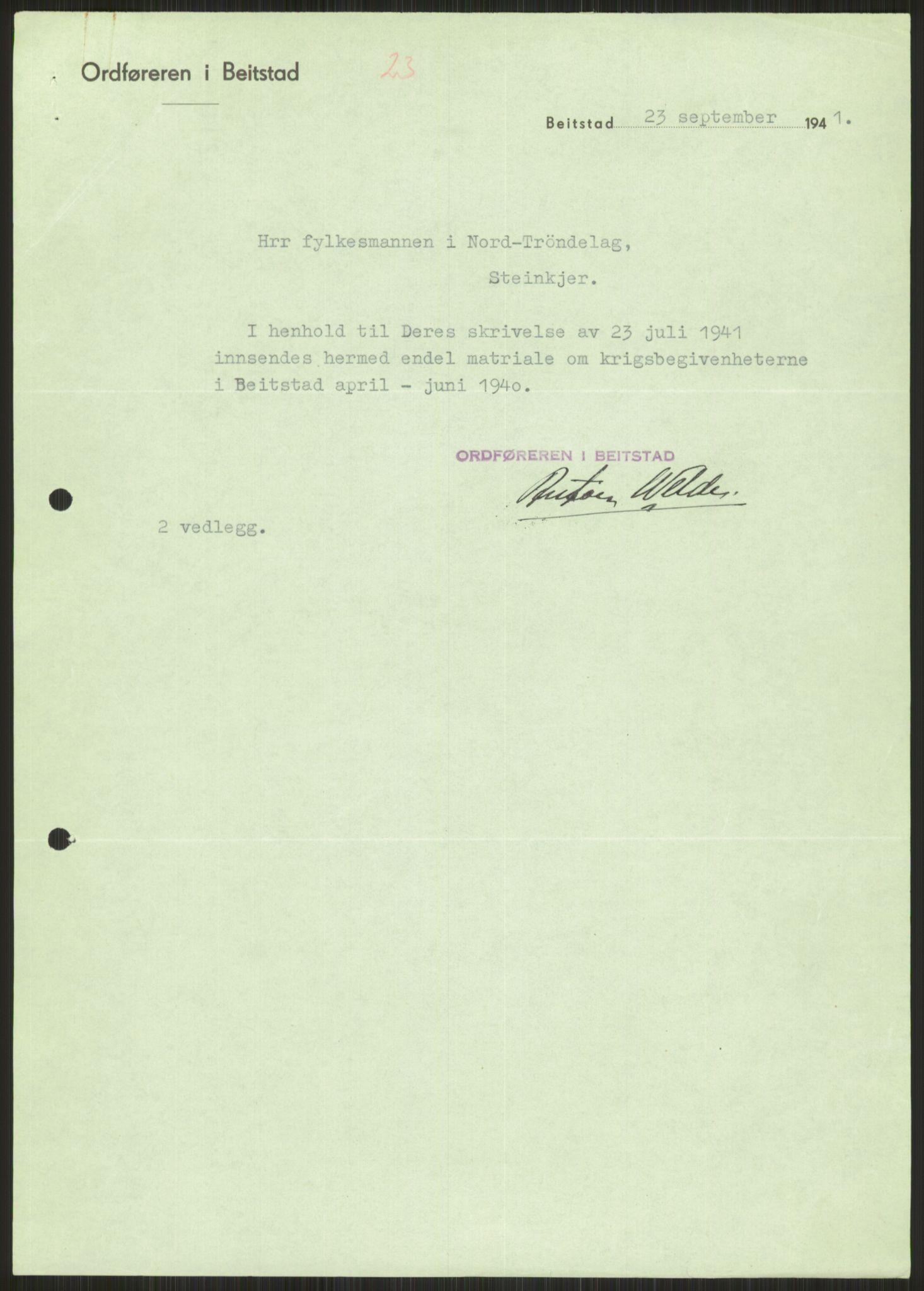 RA, Forsvaret, Forsvarets krigshistoriske avdeling, Y/Ya/L0016: II-C-11-31 - Fylkesmenn.  Rapporter om krigsbegivenhetene 1940., 1940, s. 450