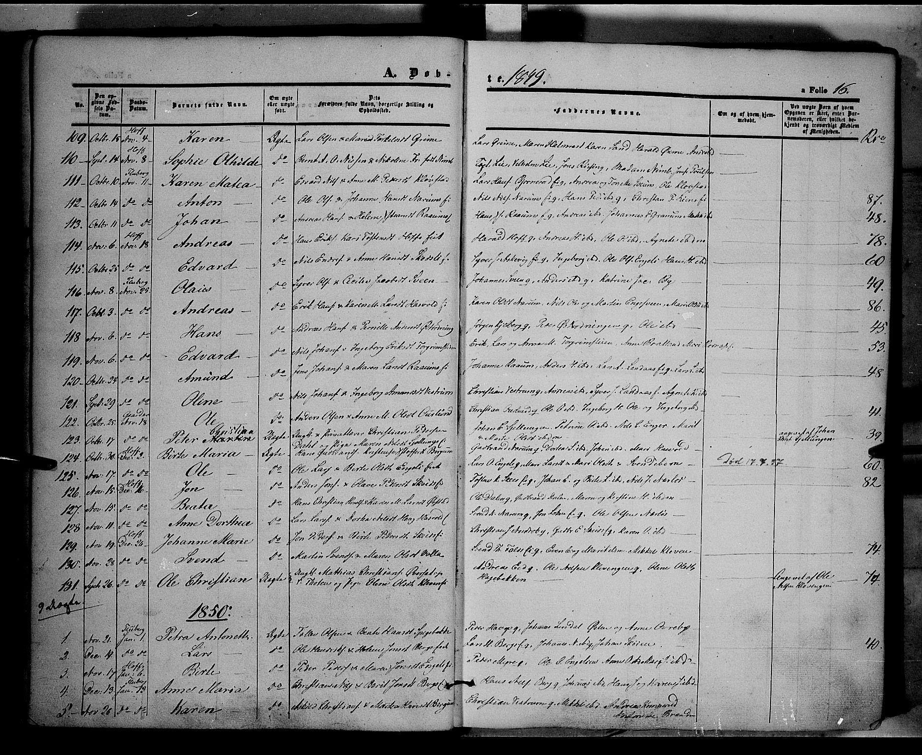 SAH, Land prestekontor, Ministerialbok nr. 9, 1847-1859, s. 16