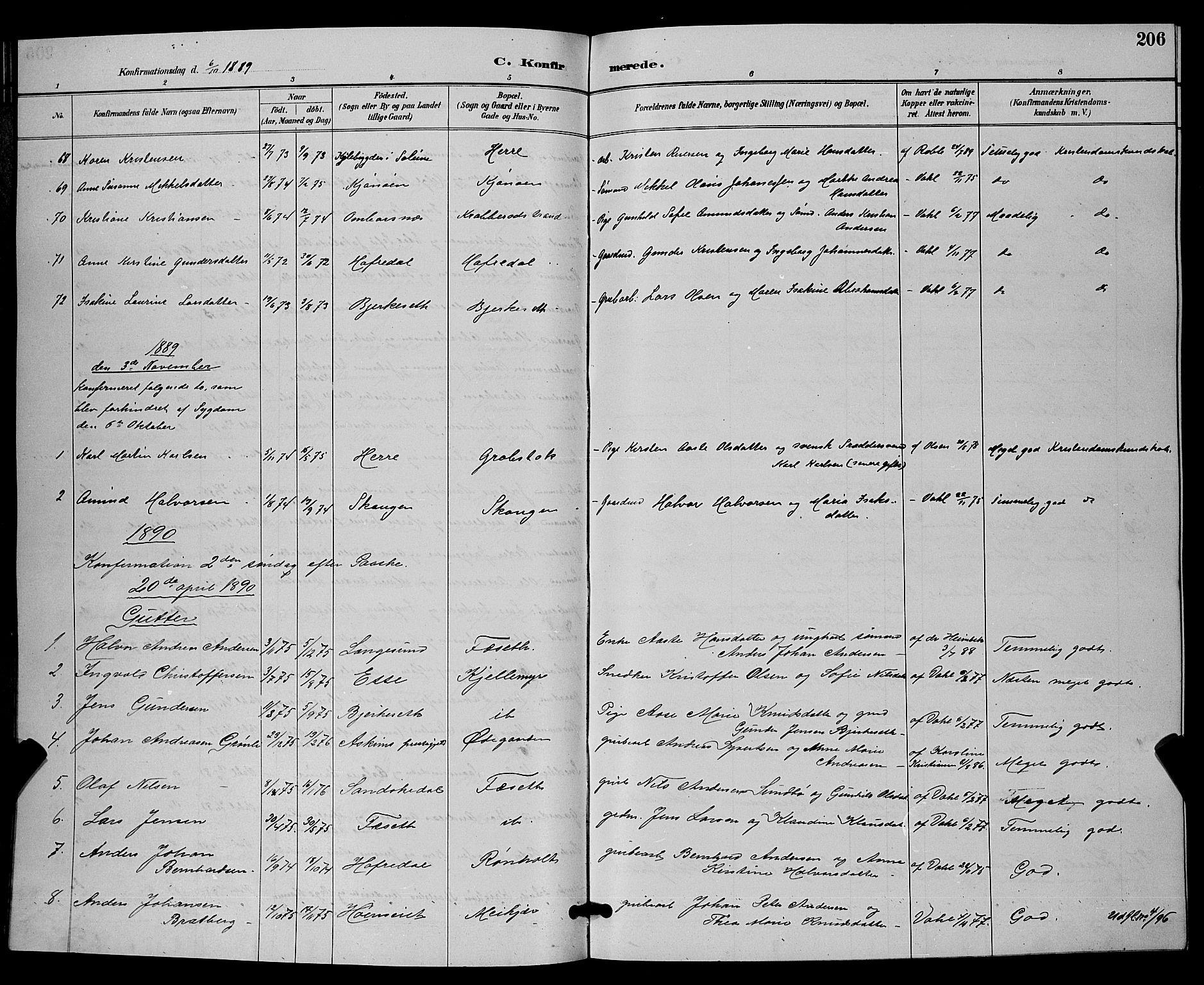 SAKO, Bamble kirkebøker, G/Ga/L0009: Klokkerbok nr. I 9, 1888-1900, s. 206