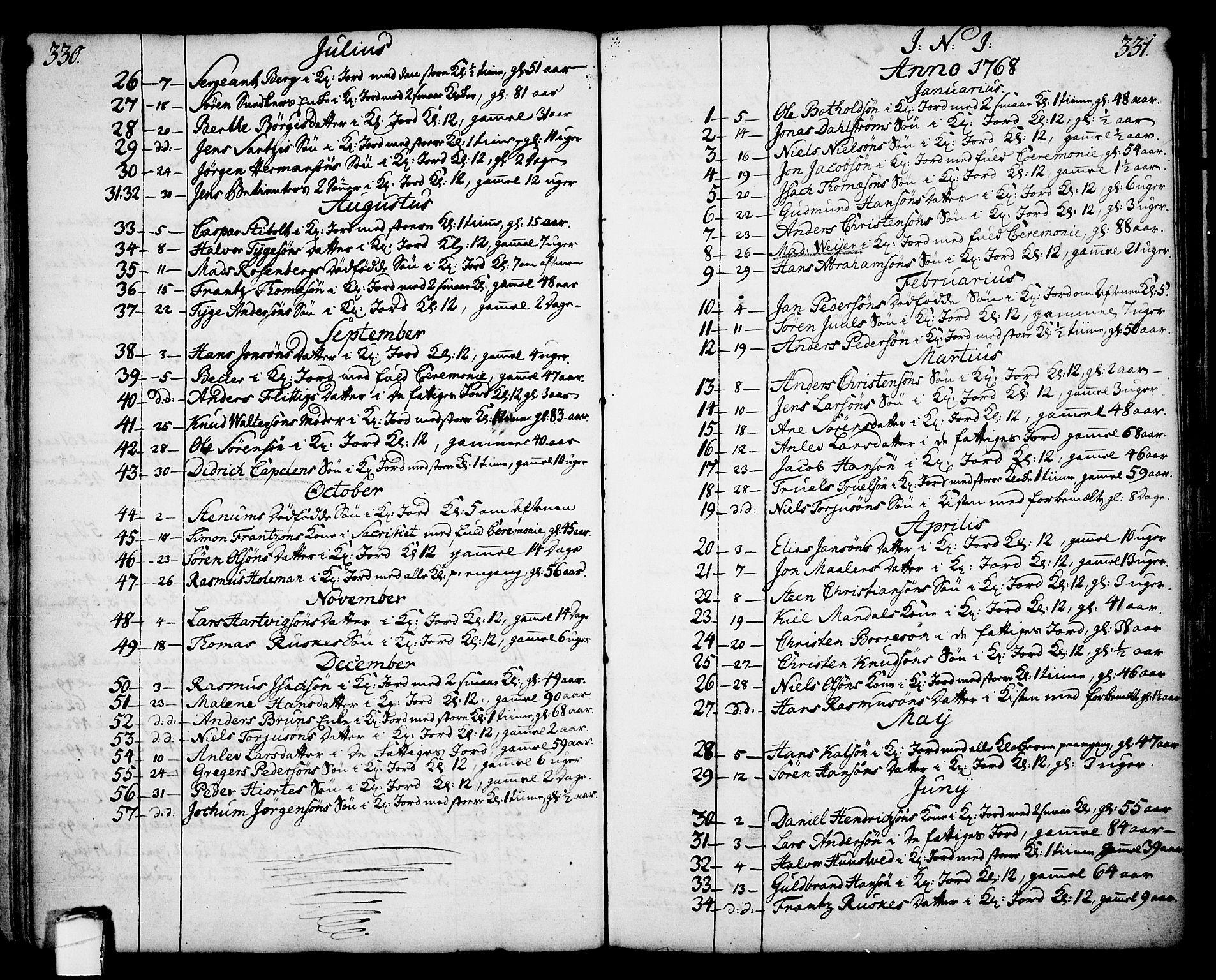SAKO, Skien kirkebøker, F/Fa/L0003: Ministerialbok nr. 3, 1755-1791, s. 330-331