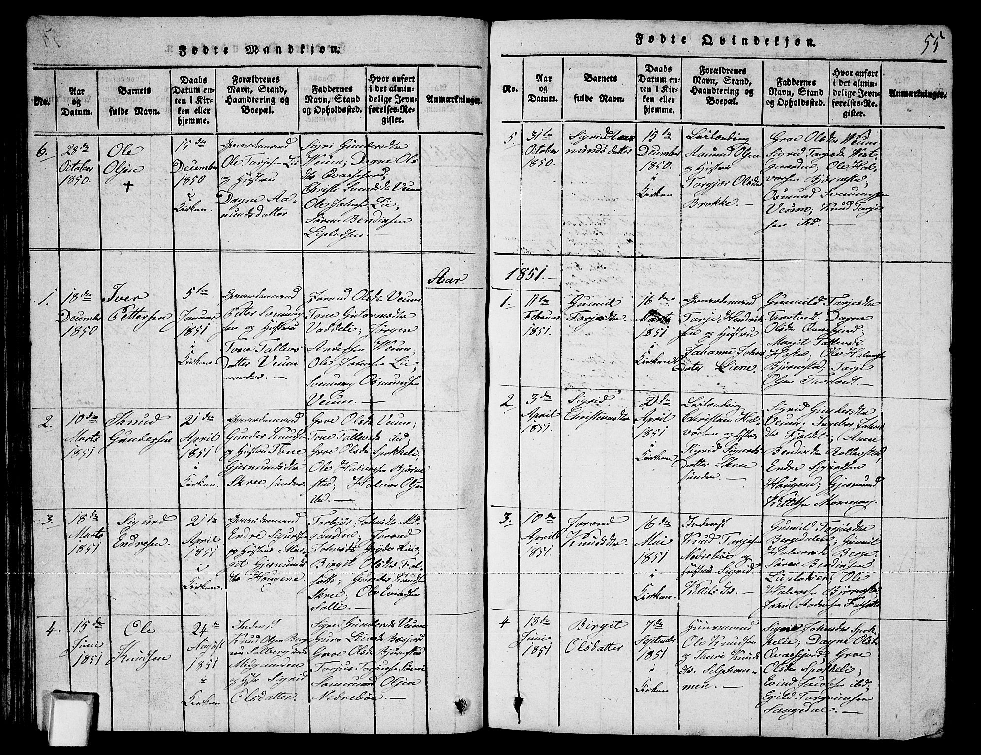SAKO, Fyresdal kirkebøker, G/Ga/L0003: Klokkerbok nr. I 3, 1815-1863, s. 55