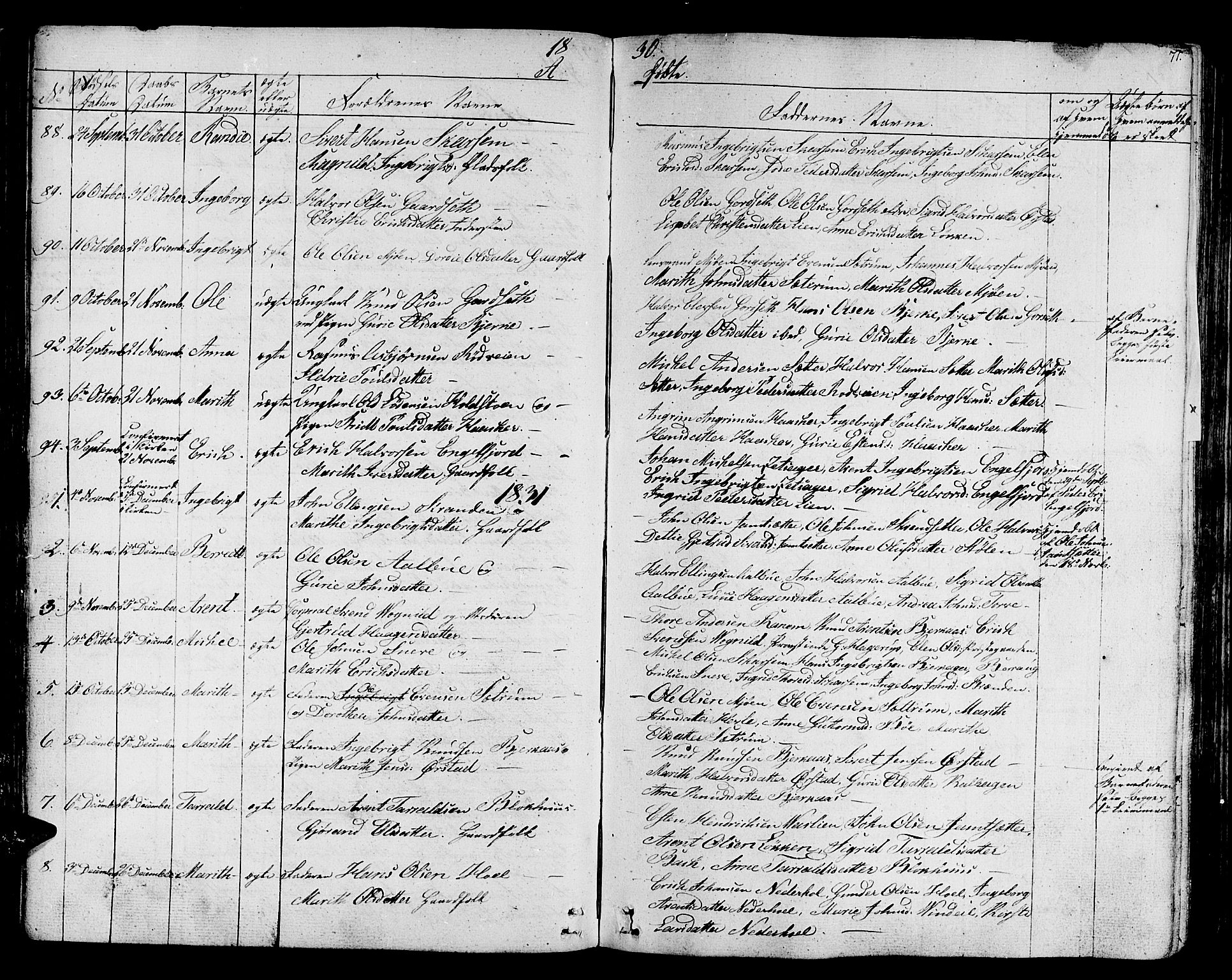 SAT, Ministerialprotokoller, klokkerbøker og fødselsregistre - Sør-Trøndelag, 678/L0897: Ministerialbok nr. 678A06-07, 1821-1847, s. 71