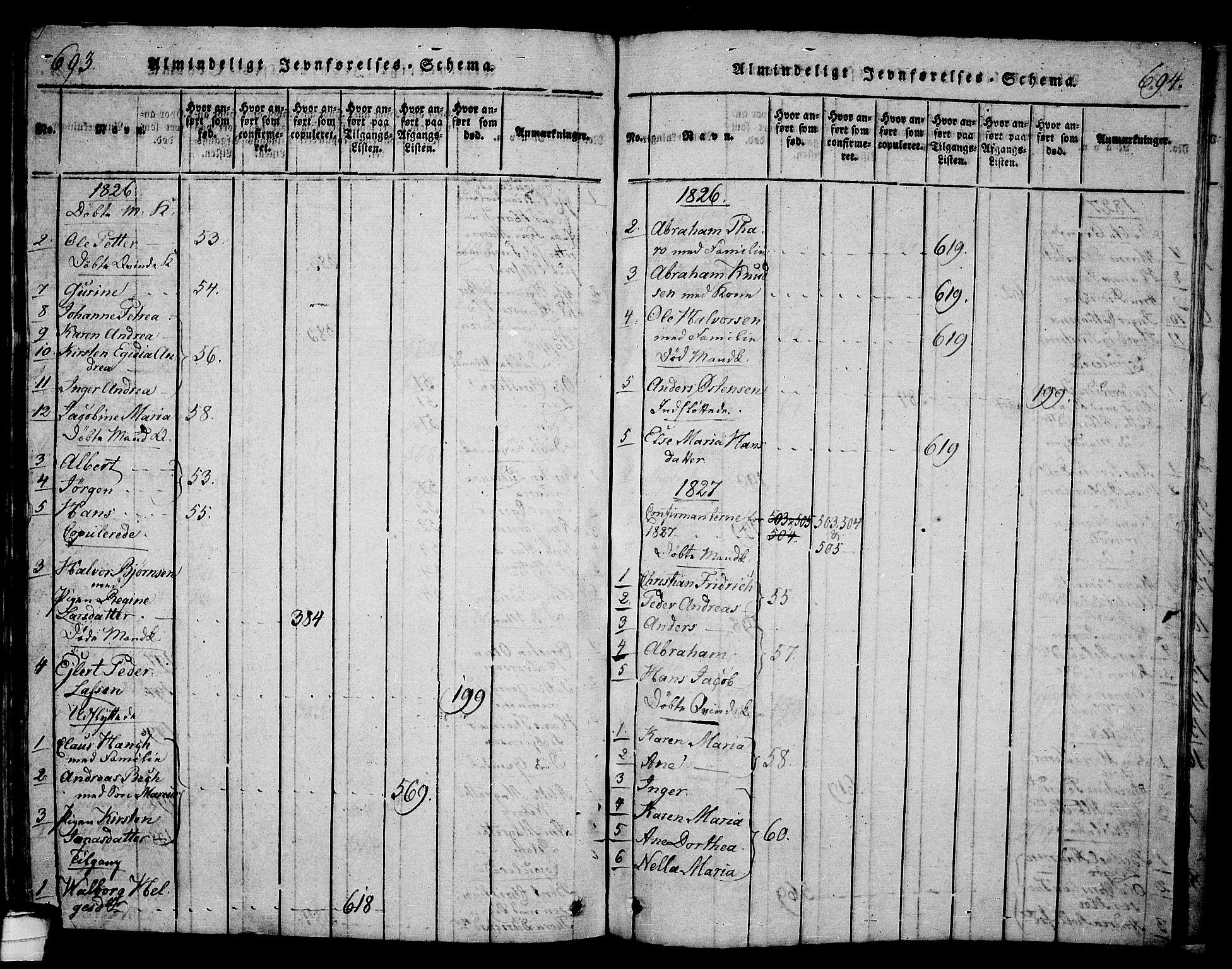 SAKO, Langesund kirkebøker, G/Ga/L0003: Klokkerbok nr. 3, 1815-1858, s. 693-694
