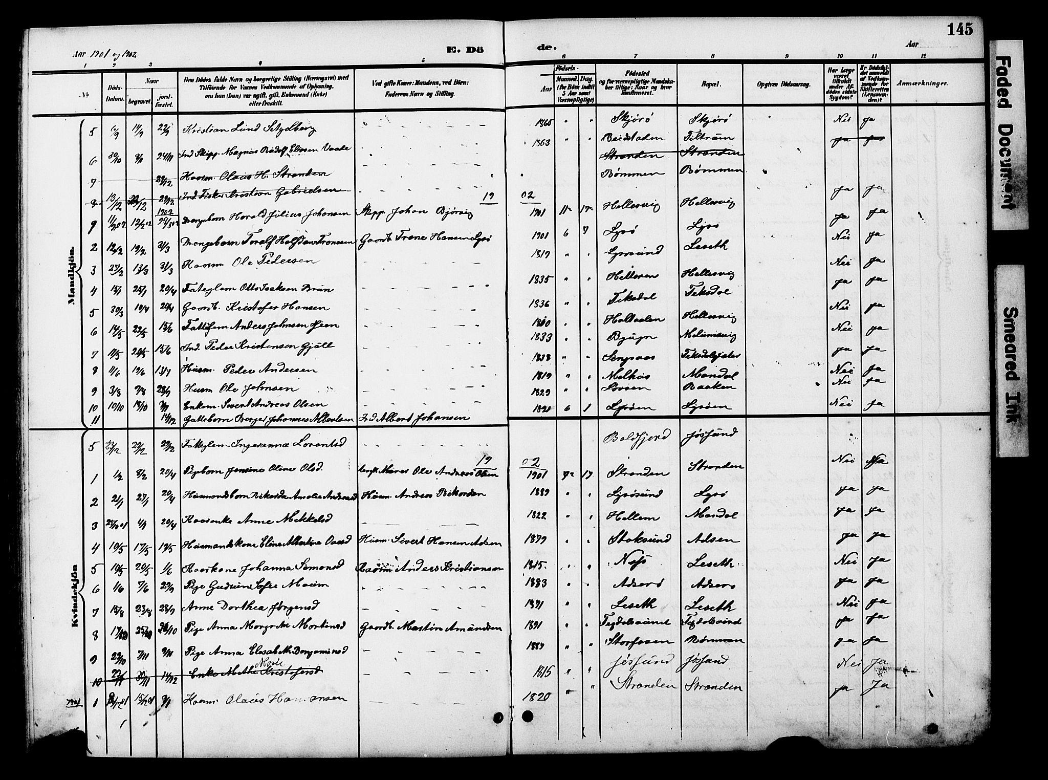 SAT, Ministerialprotokoller, klokkerbøker og fødselsregistre - Sør-Trøndelag, 654/L0666: Klokkerbok nr. 654C02, 1901-1925, s. 145