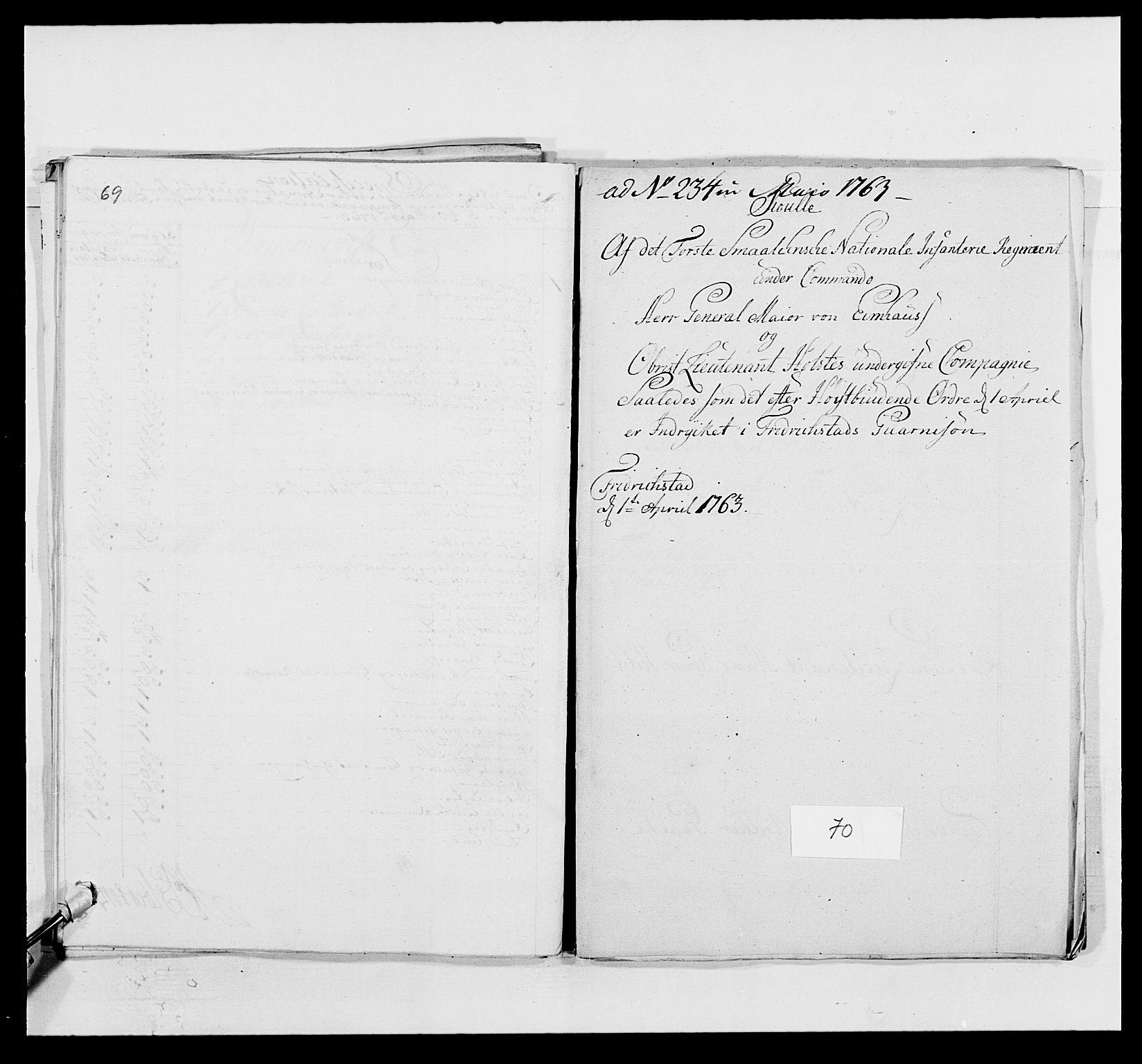 RA, Kommanderende general (KG I) med Det norske krigsdirektorium, E/Ea/L0495: 1. Smålenske regiment, 1732-1763, s. 878
