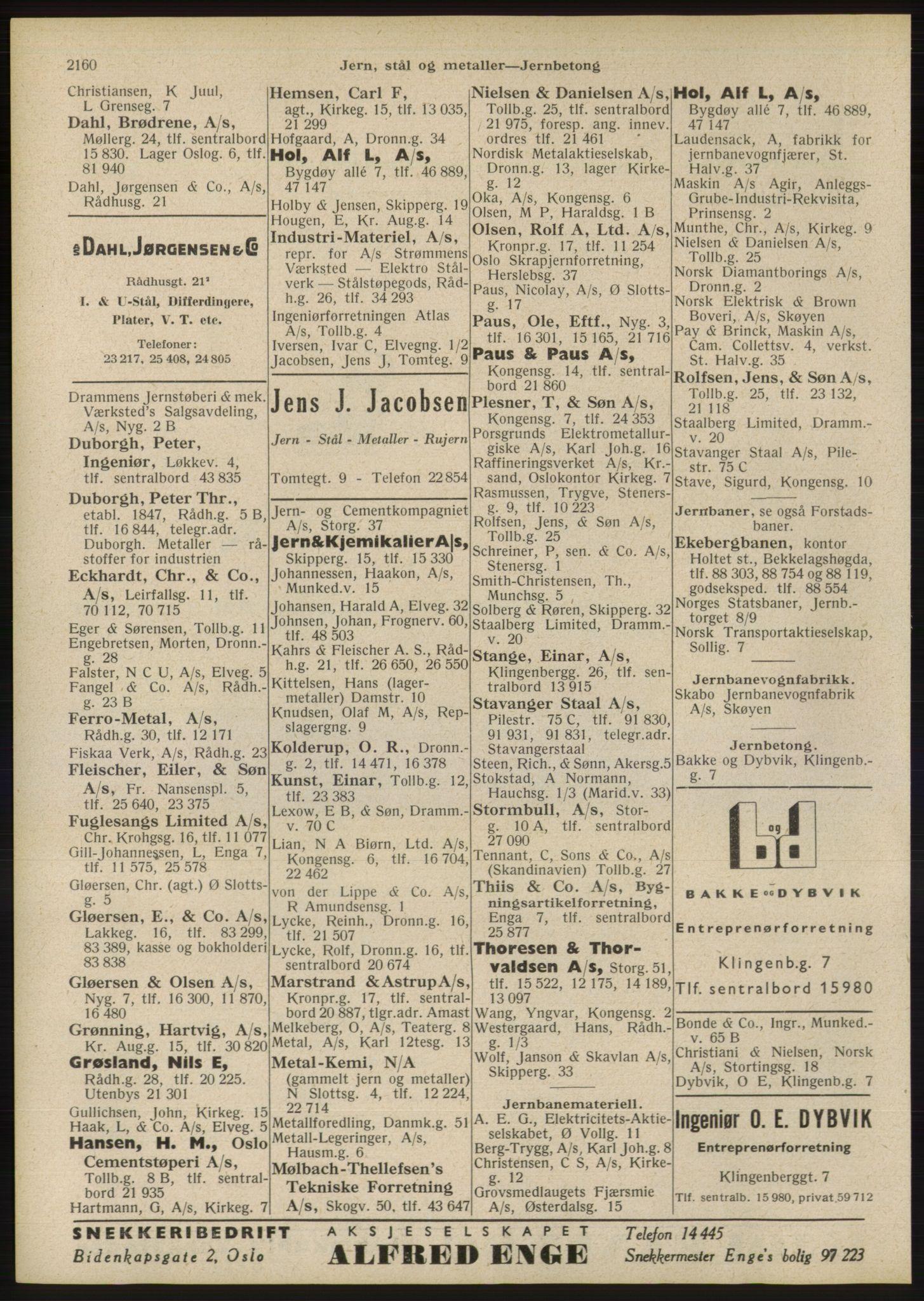 RA, Oslo adressebok (publikasjon)*, 1946, s. 2160