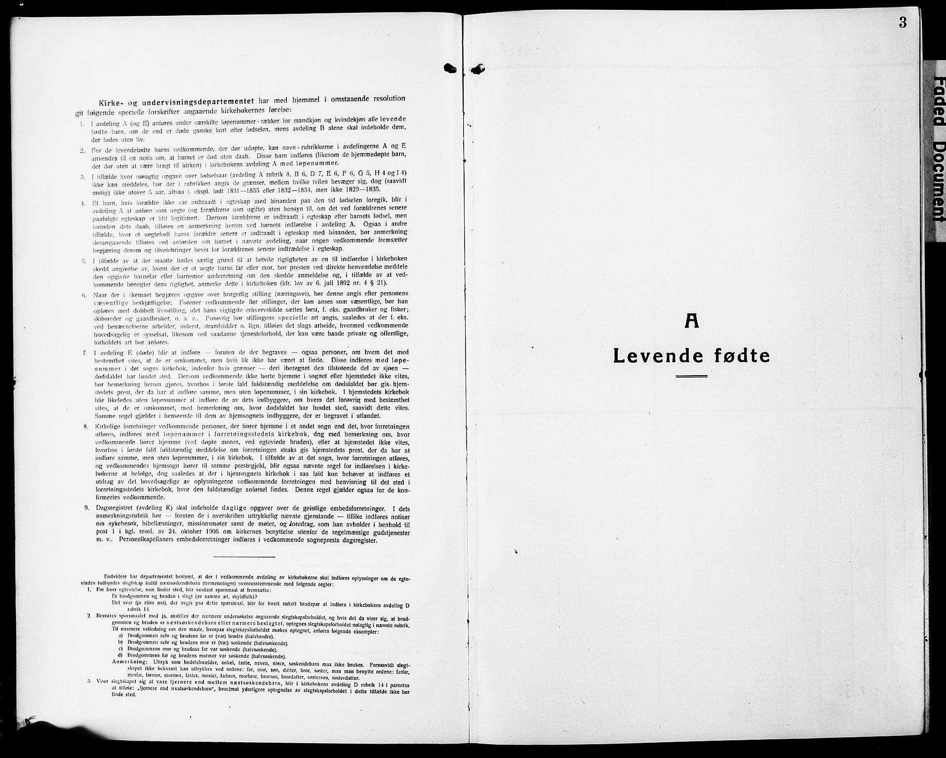 SAO, Eidsvoll prestekontor Kirkebøker, G/Ga/L0010: Klokkerbok nr. I 10, 1919-1929, s. 3