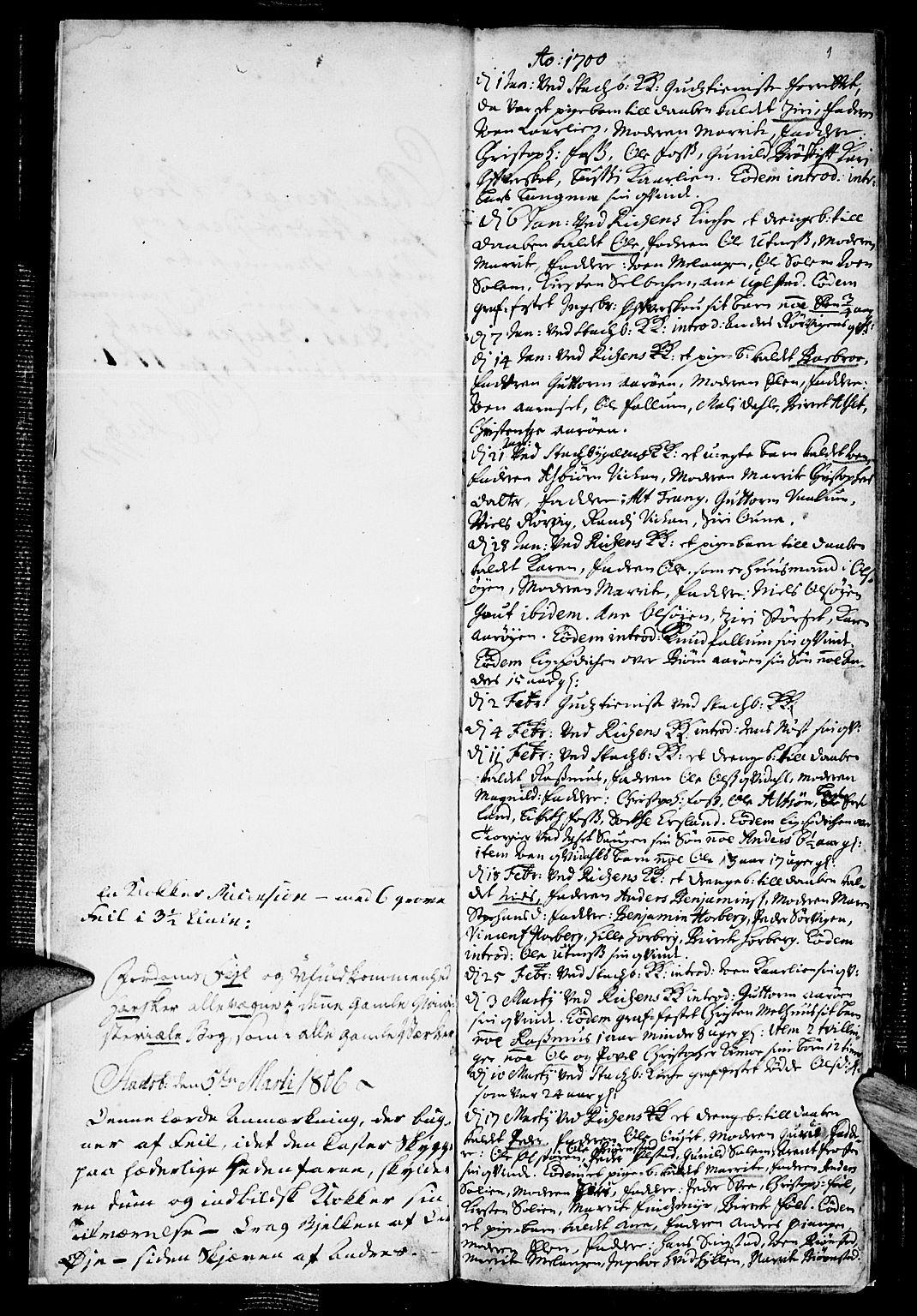 SAT, Ministerialprotokoller, klokkerbøker og fødselsregistre - Sør-Trøndelag, 646/L0603: Ministerialbok nr. 646A01, 1700-1734, s. 1