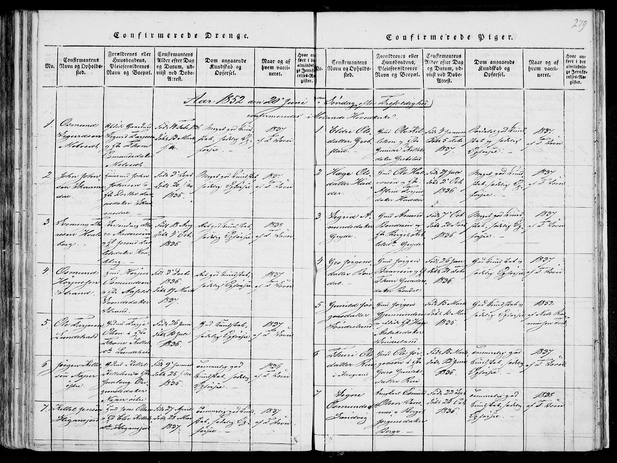 SAKO, Fyresdal kirkebøker, F/Fa/L0004: Ministerialbok nr. I 4, 1815-1854, s. 279