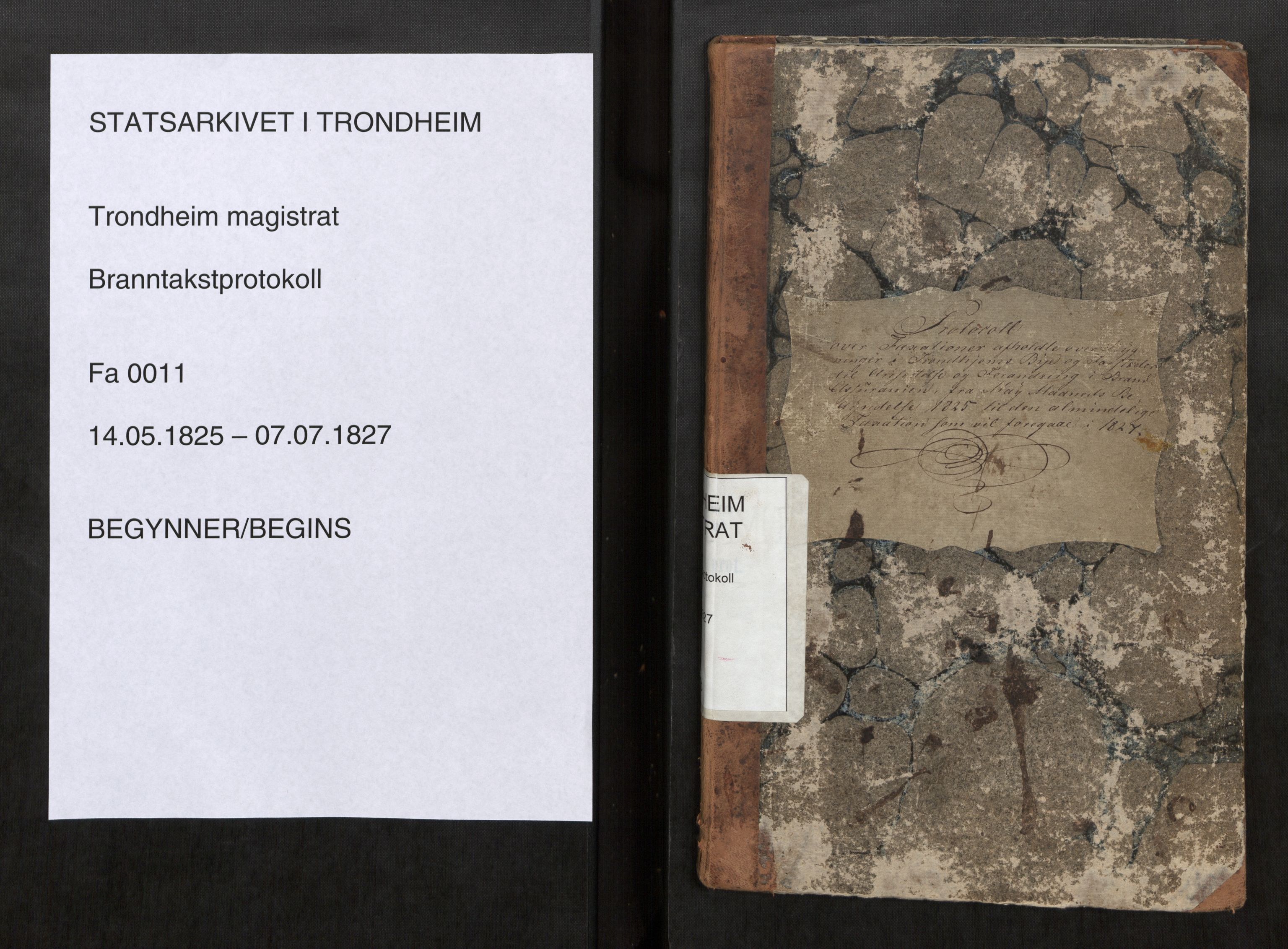 SAT, Norges Brannkasse Trondheim magistrat, Branntakstprotokoller med tekst, nr. 11: 1825-1827, 1825-1827