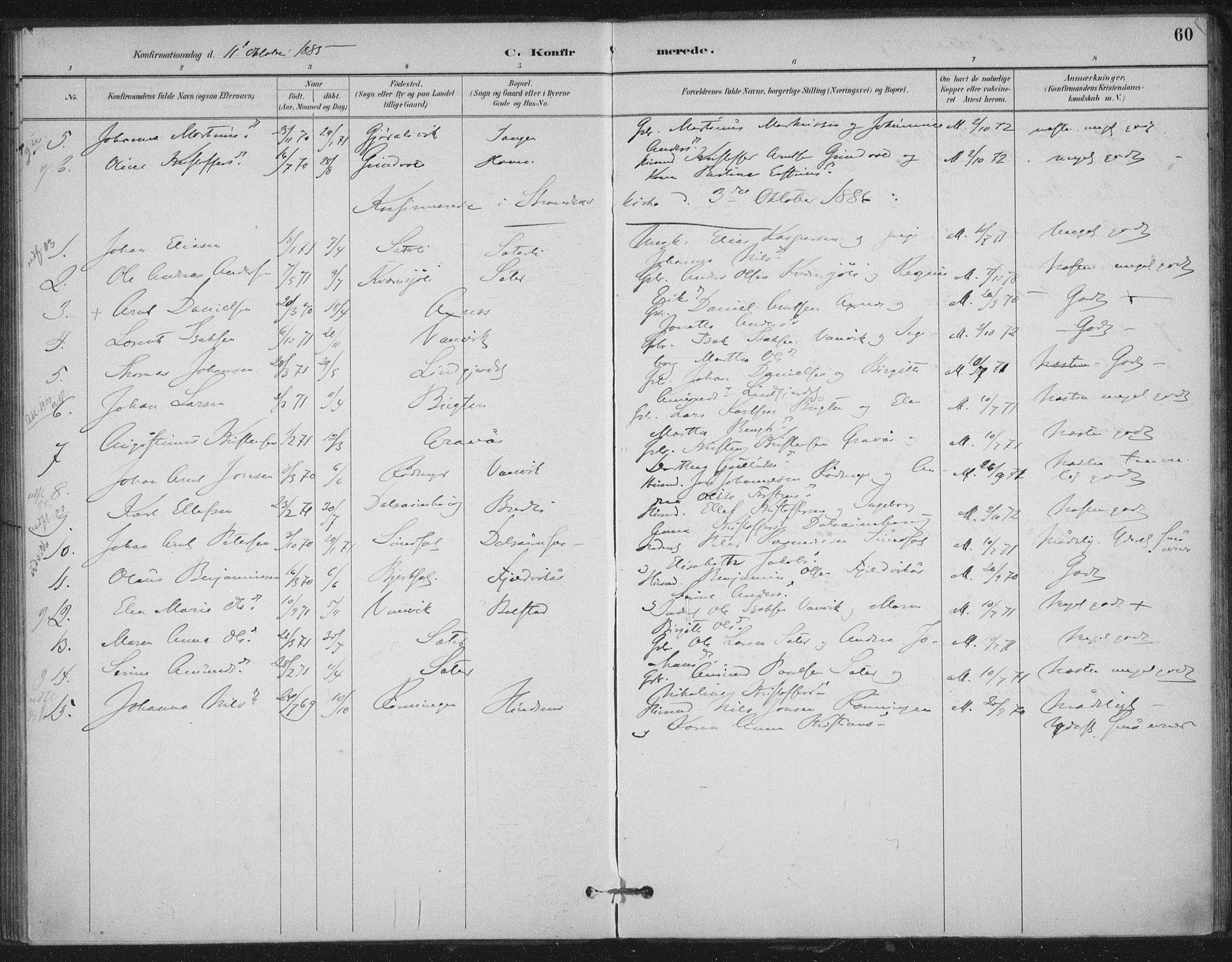 SAT, Ministerialprotokoller, klokkerbøker og fødselsregistre - Nord-Trøndelag, 702/L0023: Ministerialbok nr. 702A01, 1883-1897, s. 60
