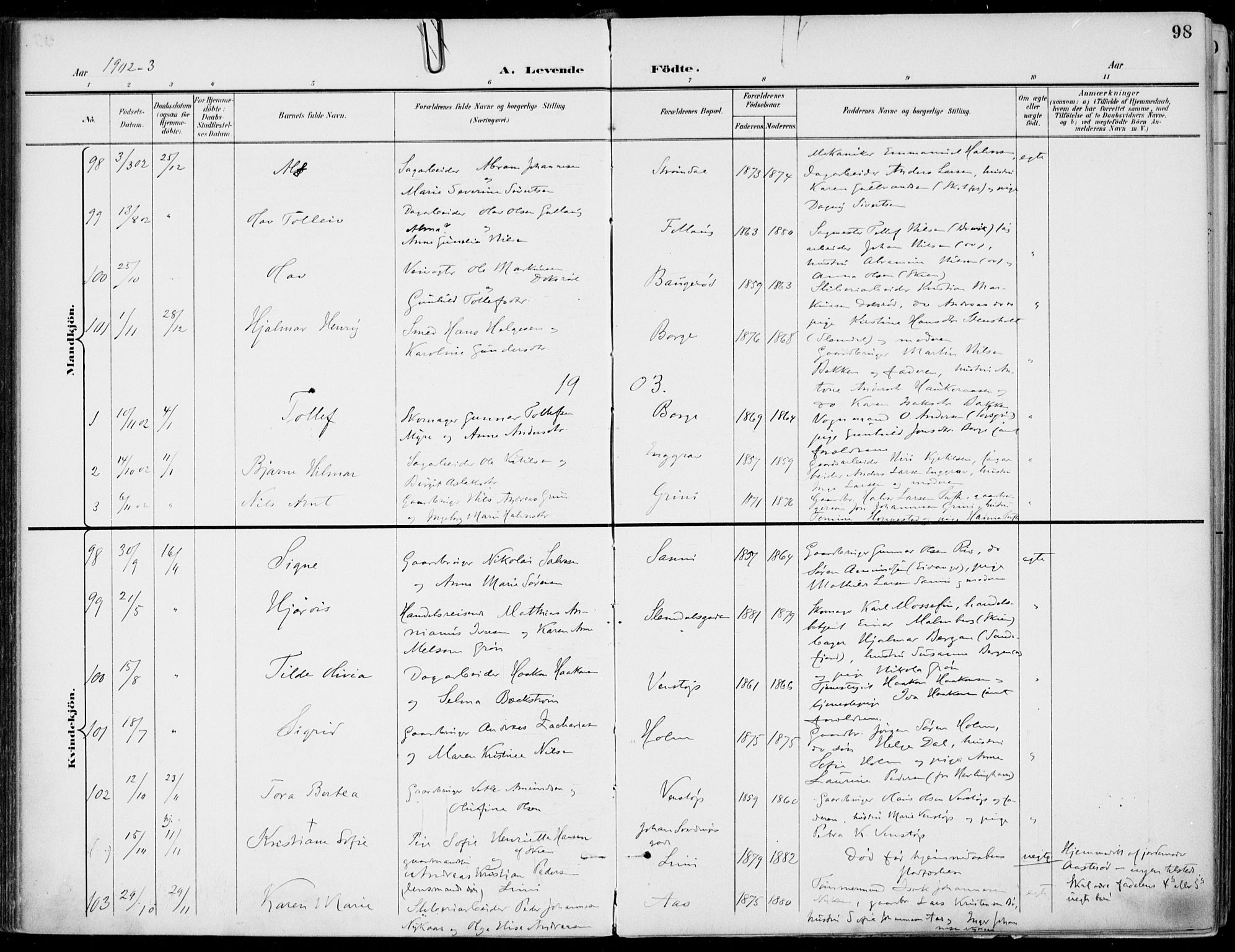SAKO, Gjerpen kirkebøker, F/Fa/L0011: Ministerialbok nr. 11, 1896-1904, s. 98