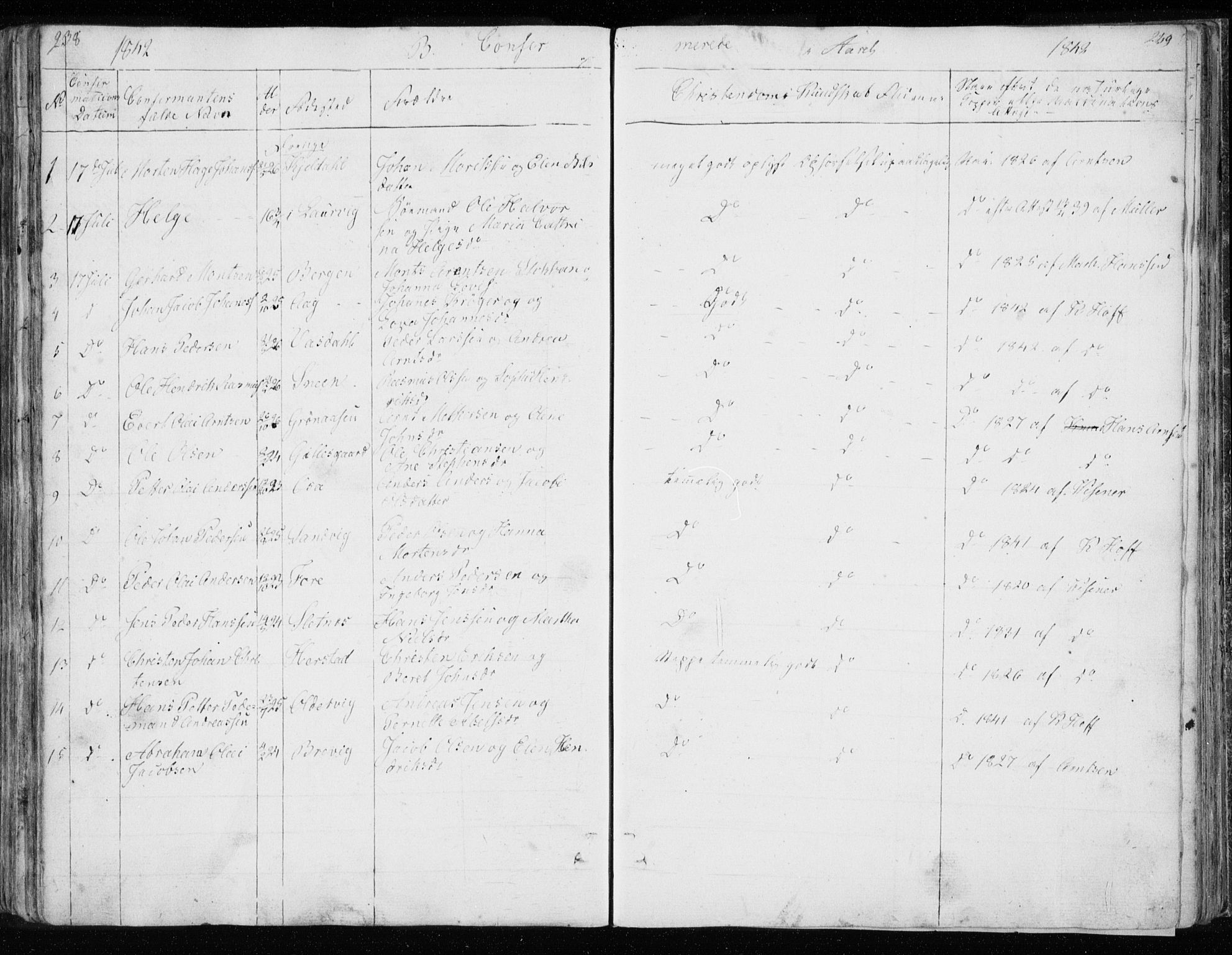 SAT, Ministerialprotokoller, klokkerbøker og fødselsregistre - Nordland, 843/L0632: Klokkerbok nr. 843C01, 1833-1853, s. 238-239