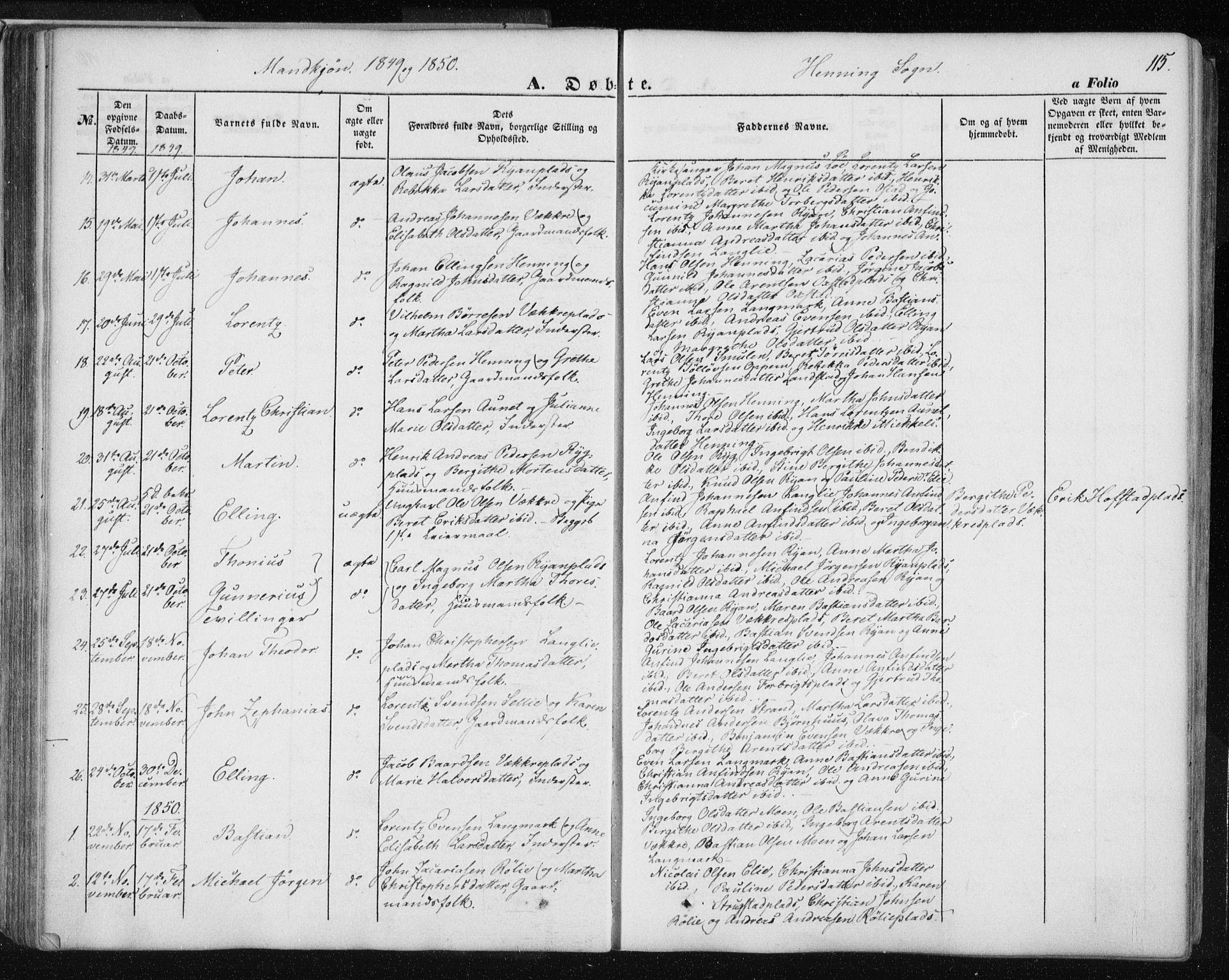 SAT, Ministerialprotokoller, klokkerbøker og fødselsregistre - Nord-Trøndelag, 735/L0342: Ministerialbok nr. 735A07 /3, 1849-1862, s. 115