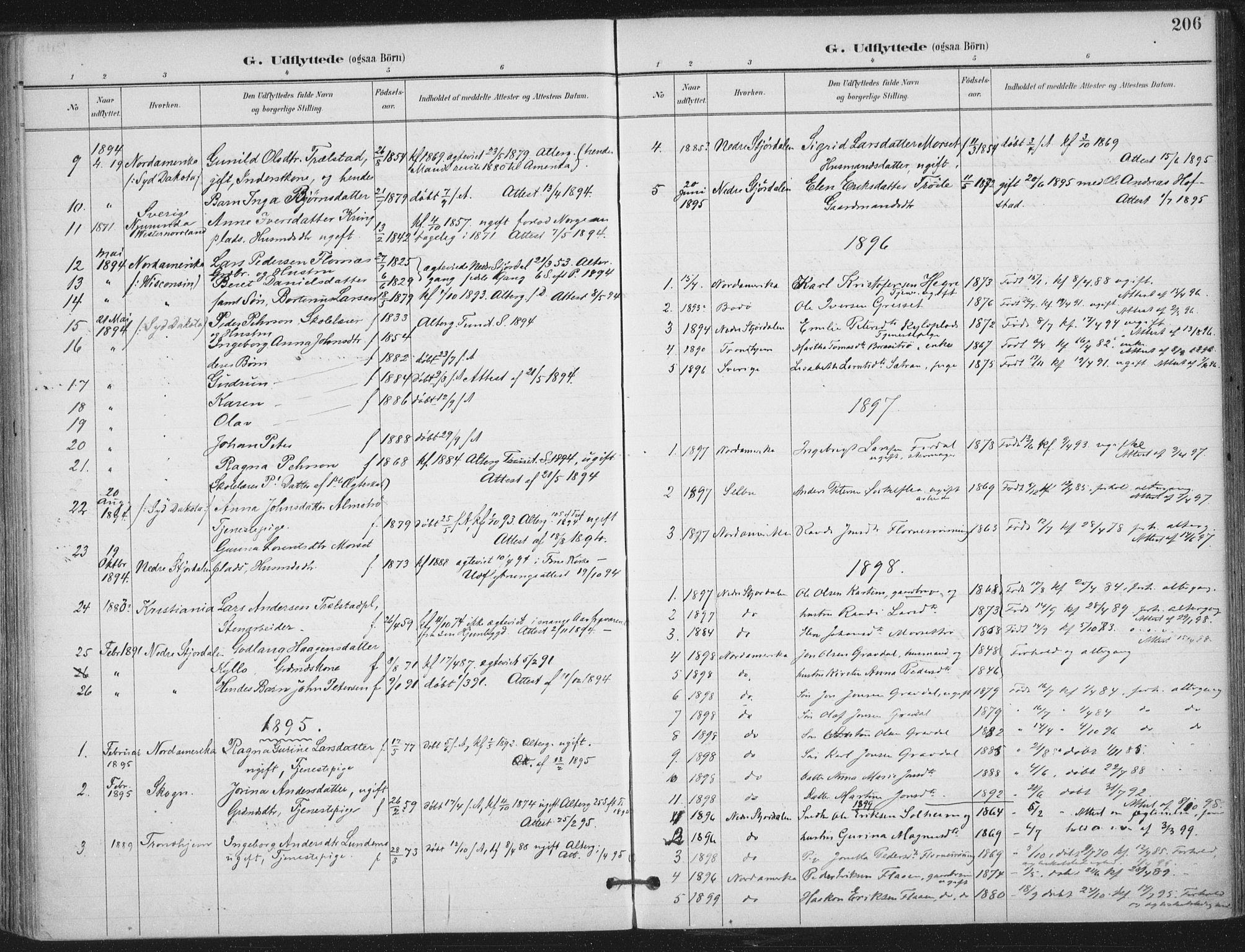 SAT, Ministerialprotokoller, klokkerbøker og fødselsregistre - Nord-Trøndelag, 703/L0031: Ministerialbok nr. 703A04, 1893-1914, s. 206