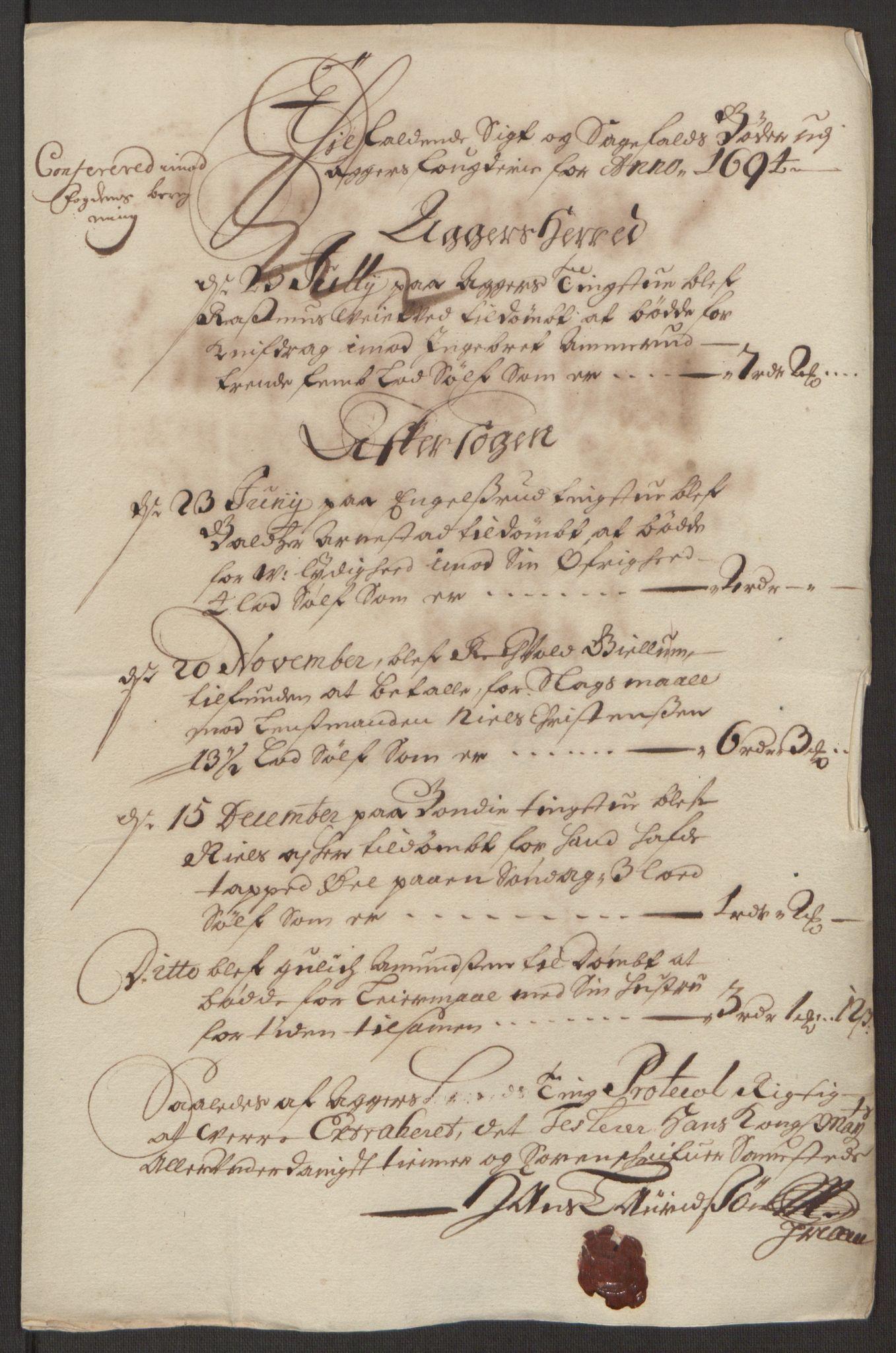 RA, Rentekammeret inntil 1814, Reviderte regnskaper, Fogderegnskap, R10/L0438: Fogderegnskap Aker og Follo, 1694, s. 123
