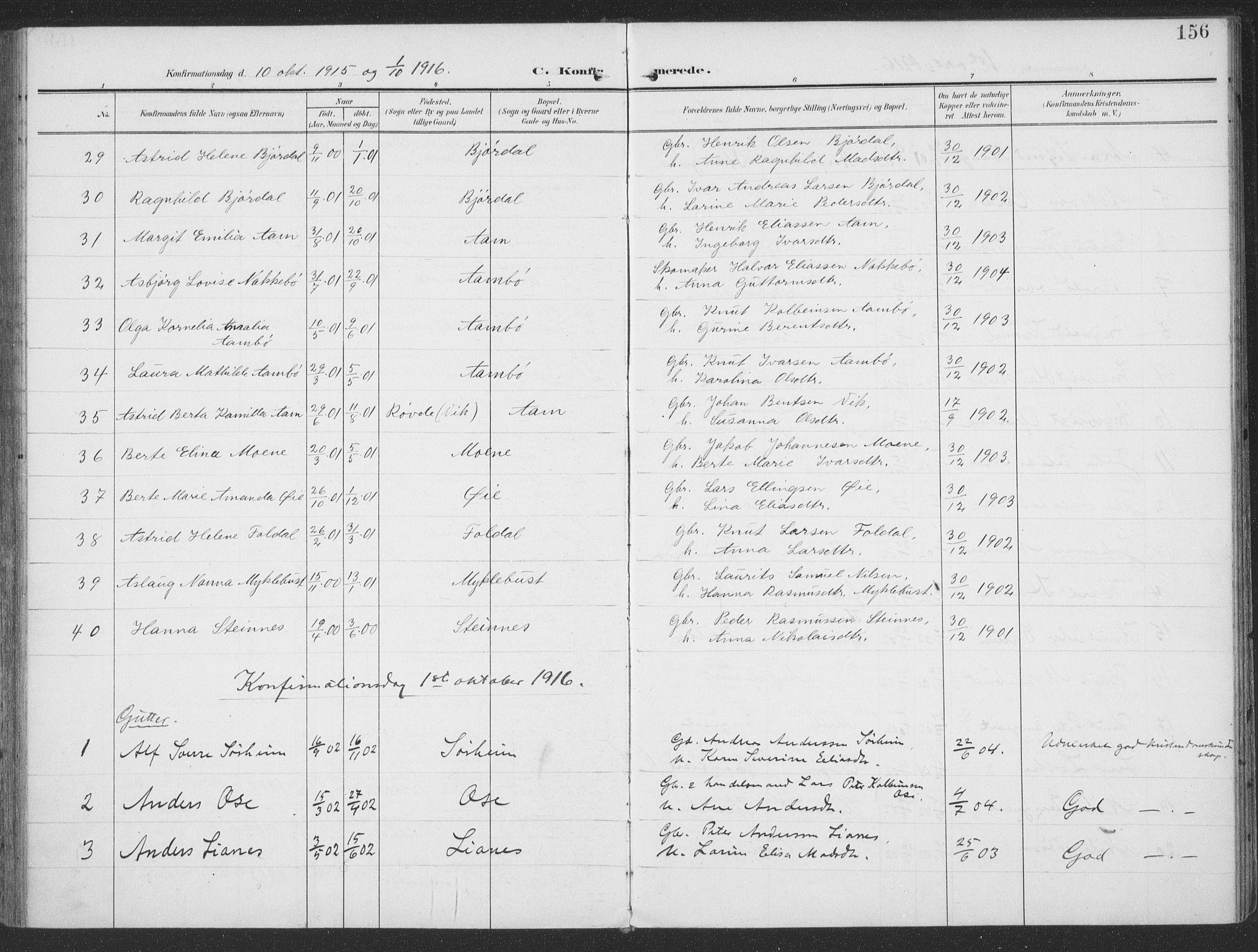 SAT, Ministerialprotokoller, klokkerbøker og fødselsregistre - Møre og Romsdal, 513/L0178: Ministerialbok nr. 513A05, 1906-1919, s. 156