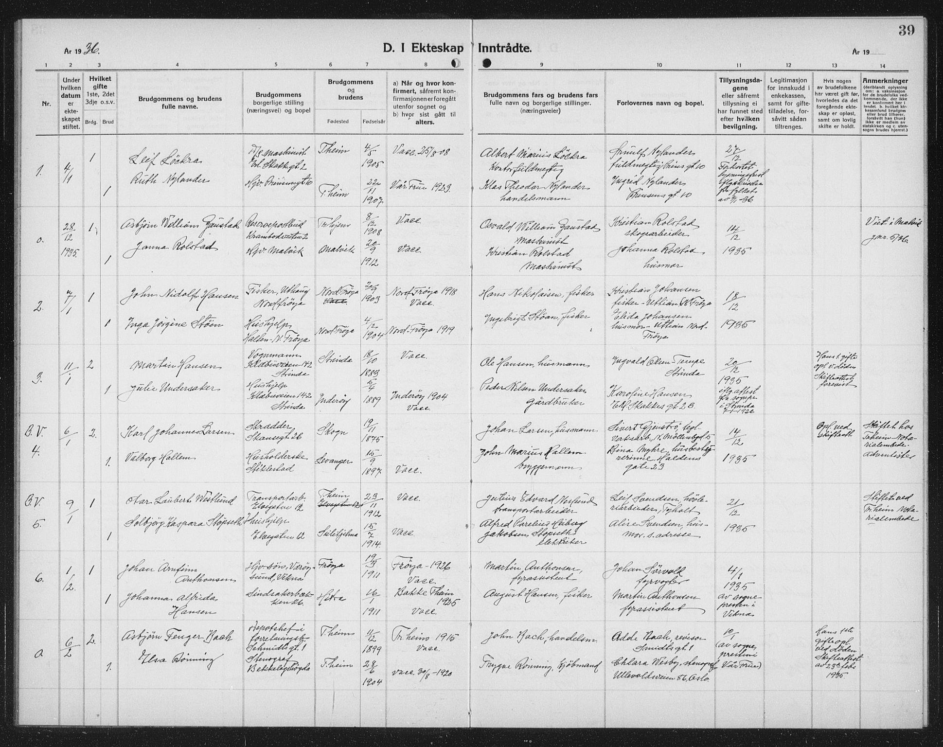 SAT, Ministerialprotokoller, klokkerbøker og fødselsregistre - Sør-Trøndelag, 602/L0152: Klokkerbok nr. 602C20, 1933-1940, s. 39
