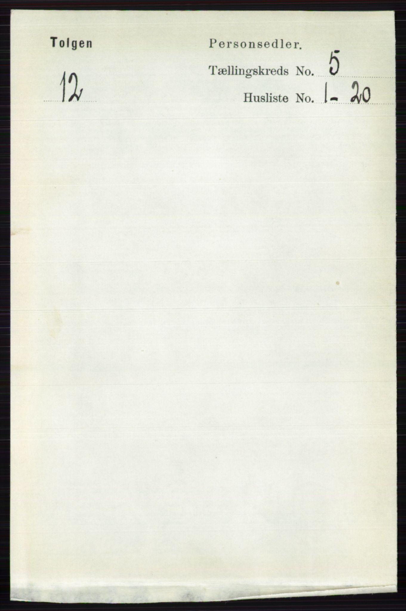 RA, Folketelling 1891 for 0436 Tolga herred, 1891, s. 1292