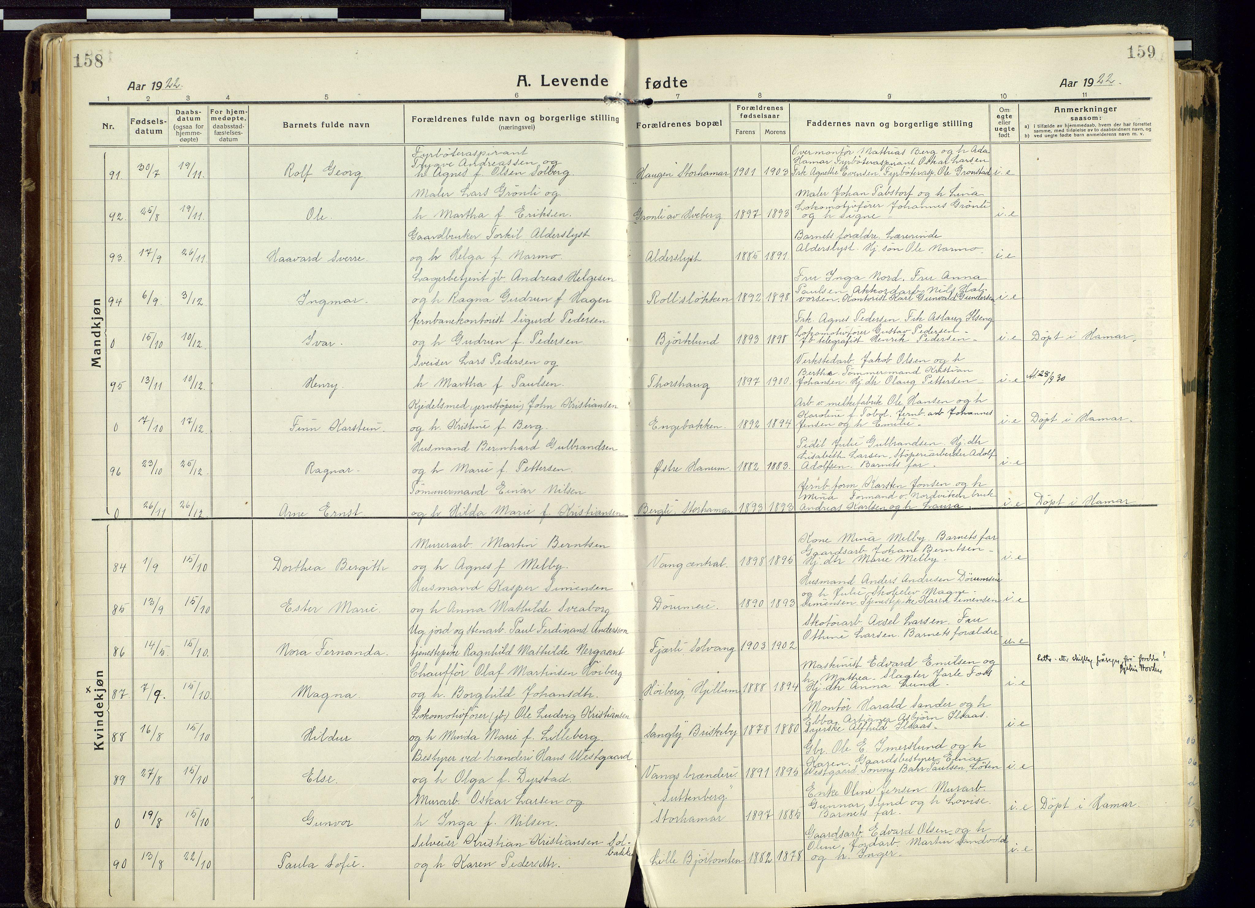 SAH, Vang prestekontor, Hedmark, H/Ha/Haa/L0022: Ministerialbok nr. 22, 1918-1944, s. 158-159