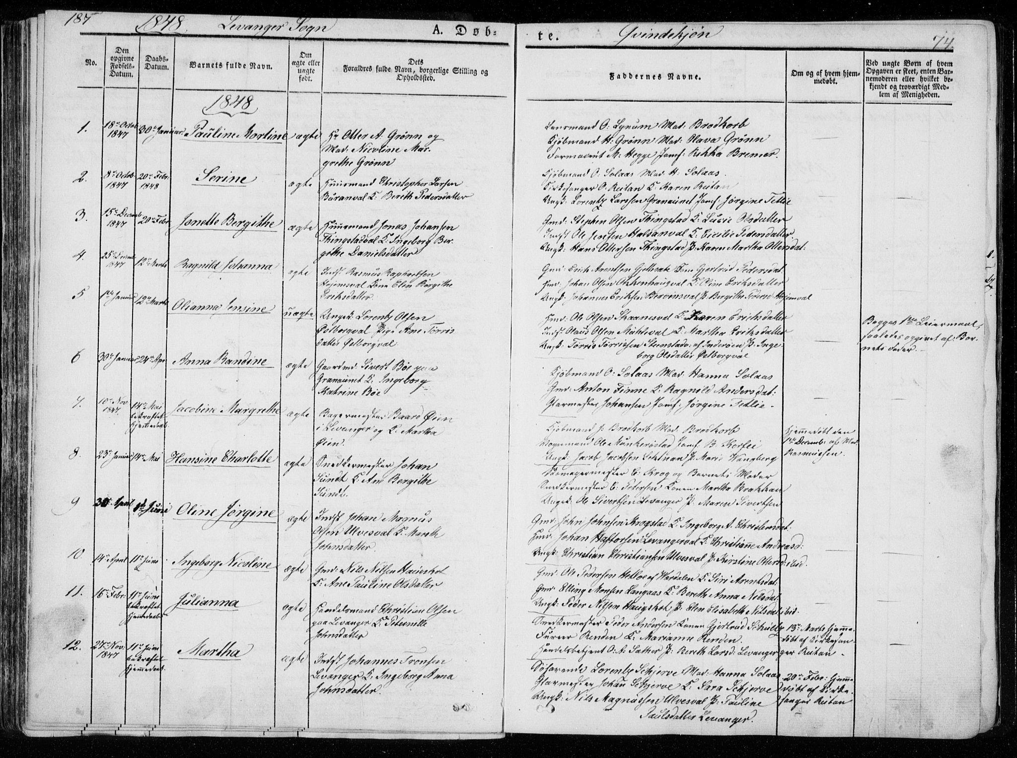 SAT, Ministerialprotokoller, klokkerbøker og fødselsregistre - Nord-Trøndelag, 720/L0183: Ministerialbok nr. 720A01, 1836-1855, s. 74
