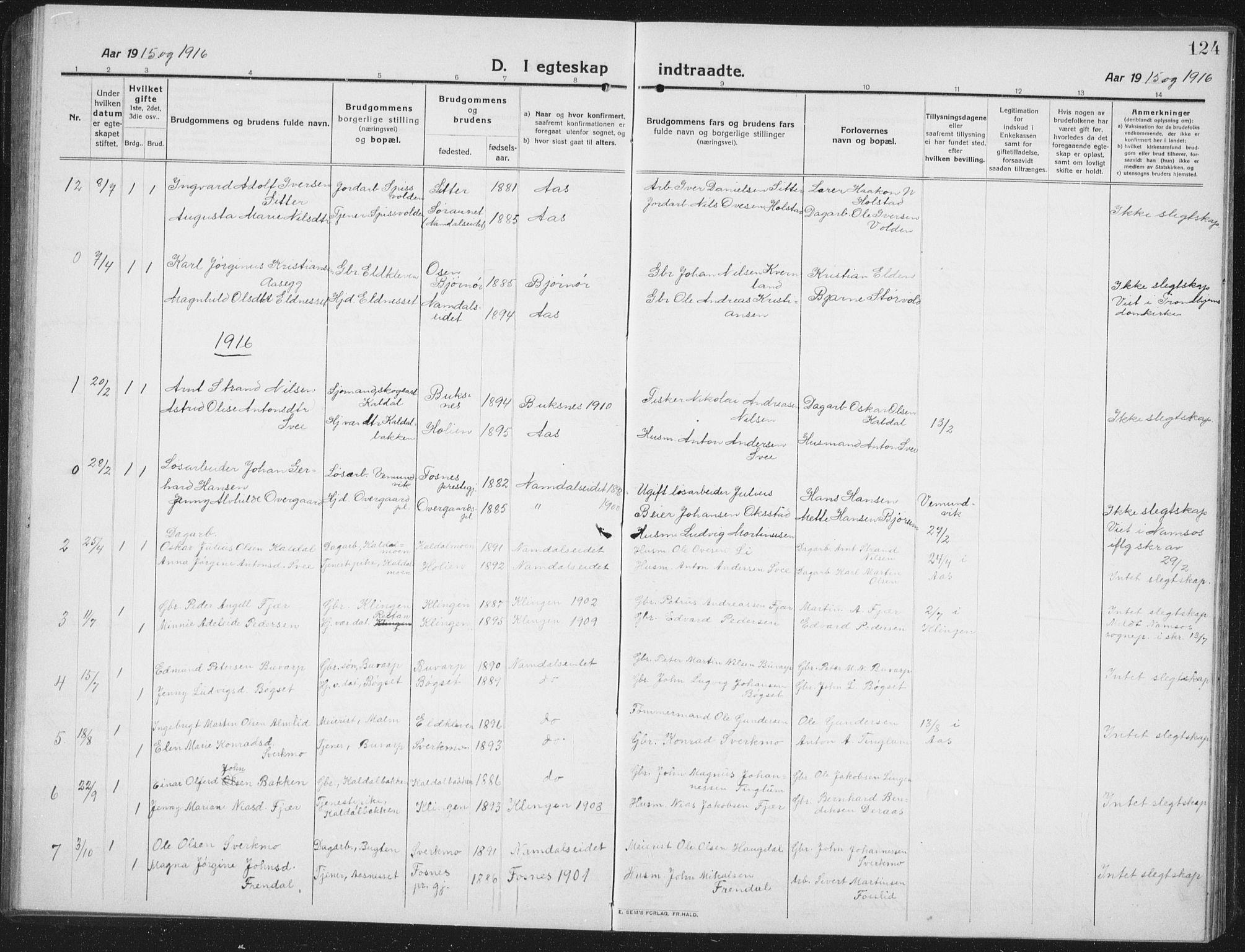 SAT, Ministerialprotokoller, klokkerbøker og fødselsregistre - Nord-Trøndelag, 742/L0413: Klokkerbok nr. 742C04, 1911-1938, s. 124