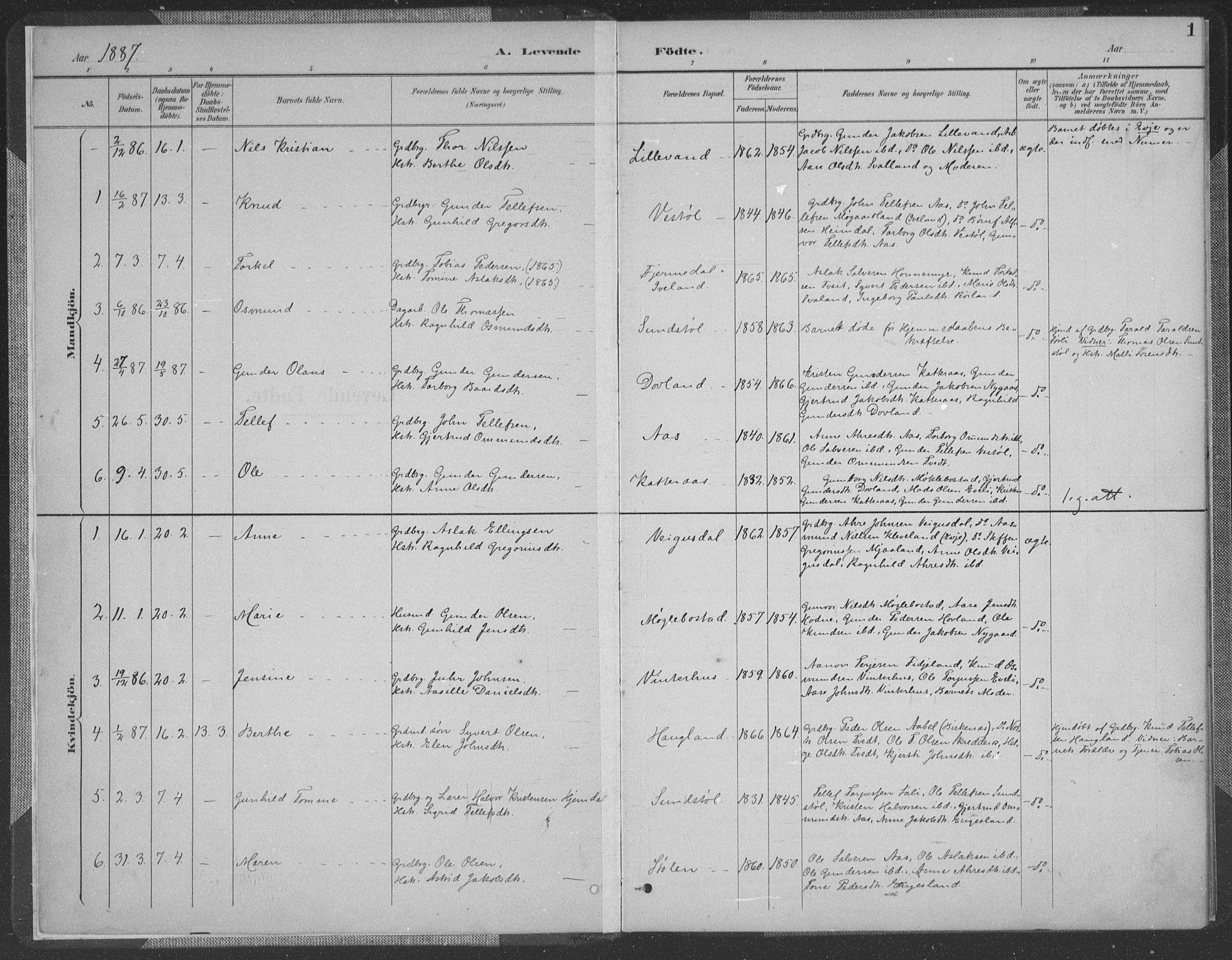 SAK, Herefoss sokneprestkontor, F/Fa/Fab/L0004: Ministerialbok nr. A 4, 1887-1909, s. 1