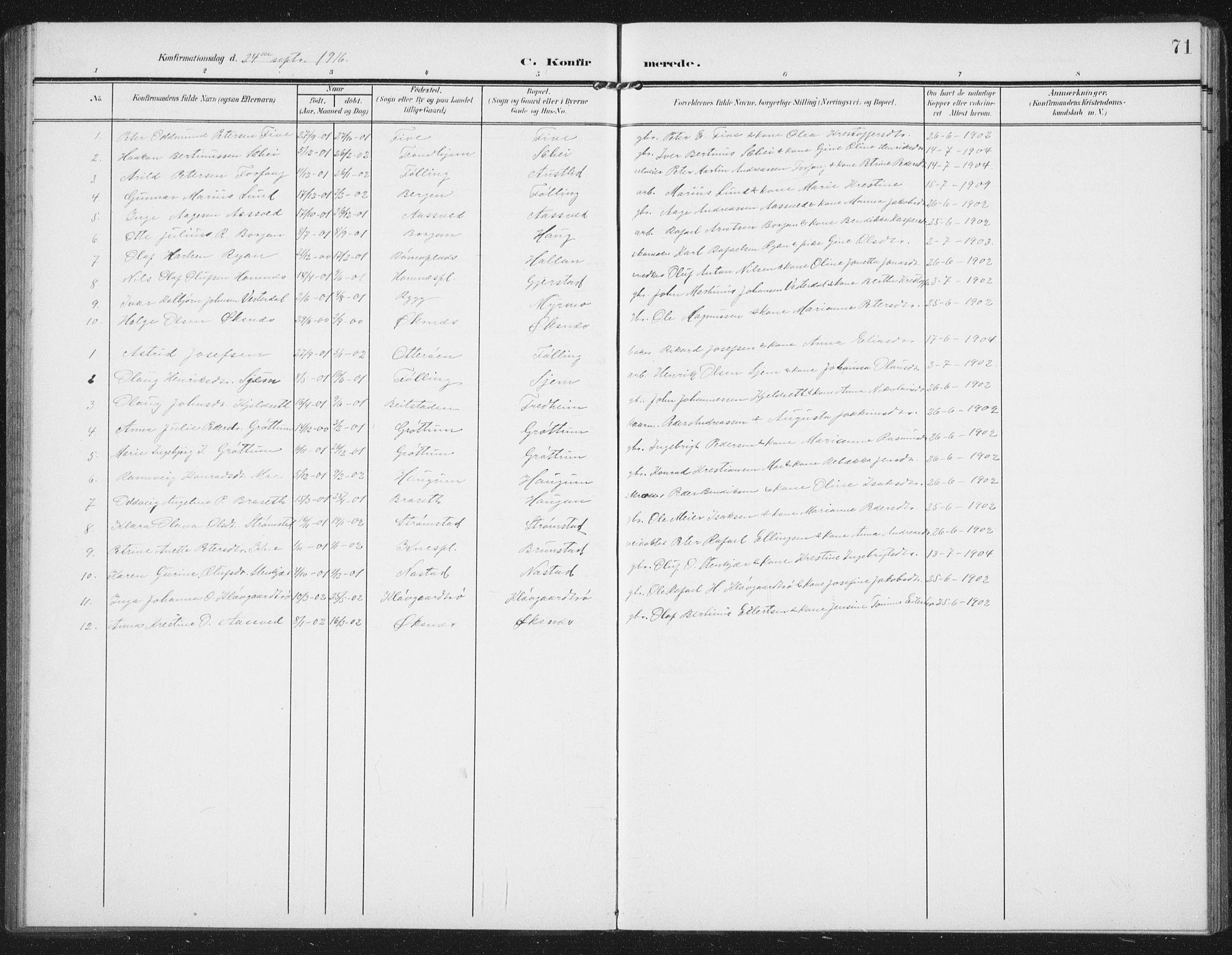 SAT, Ministerialprotokoller, klokkerbøker og fødselsregistre - Nord-Trøndelag, 747/L0460: Klokkerbok nr. 747C02, 1908-1939, s. 71