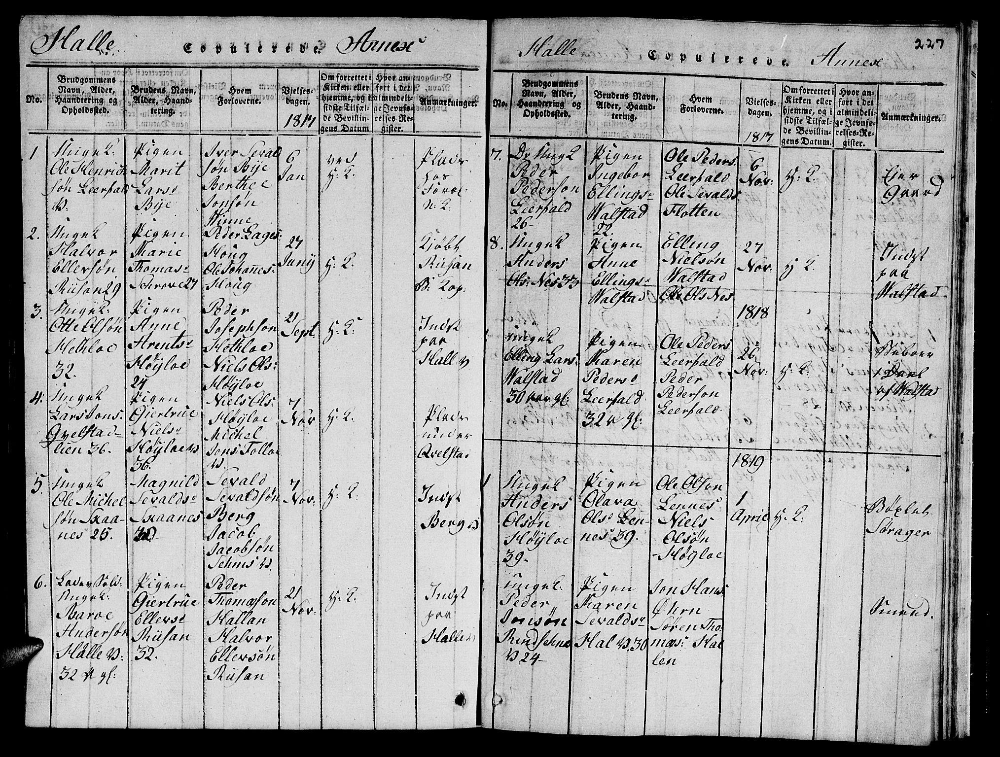 SAT, Ministerialprotokoller, klokkerbøker og fødselsregistre - Nord-Trøndelag, 723/L0251: Klokkerbok nr. 723C01 /3, 1817-1821, s. 227