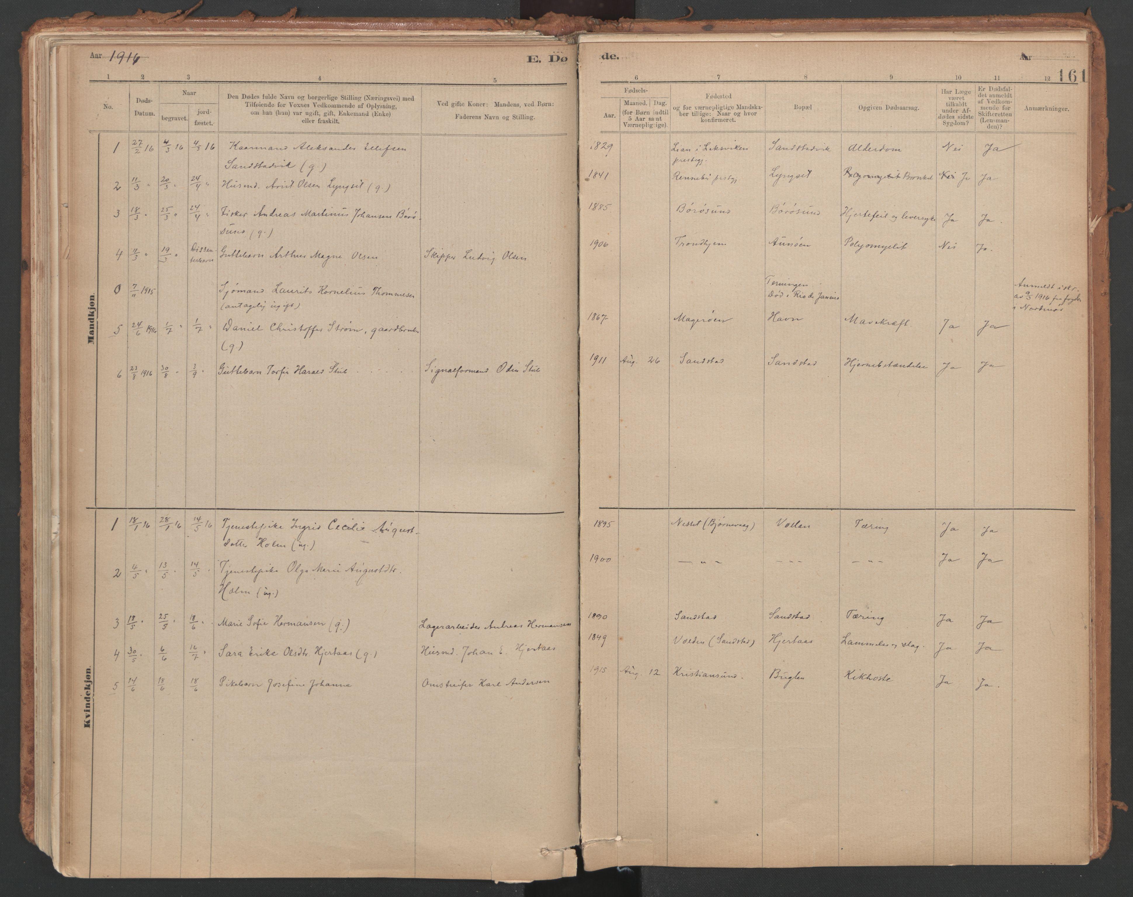 SAT, Ministerialprotokoller, klokkerbøker og fødselsregistre - Sør-Trøndelag, 639/L0572: Ministerialbok nr. 639A01, 1890-1920, s. 161