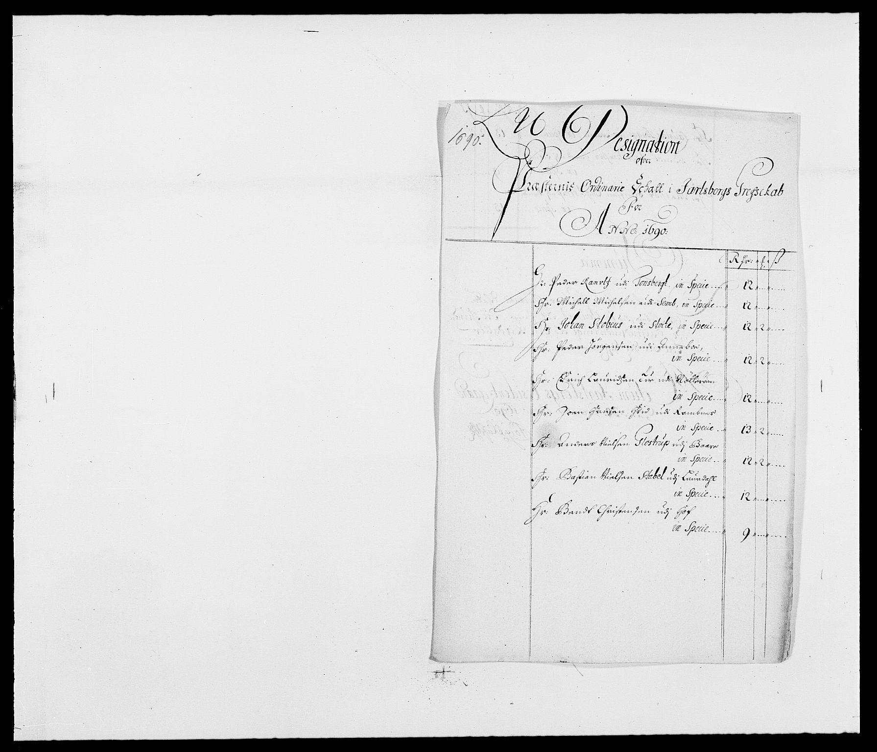 RA, Rentekammeret inntil 1814, Reviderte regnskaper, Fogderegnskap, R32/L1861: Fogderegnskap Jarlsberg grevskap, 1686-1690, s. 351