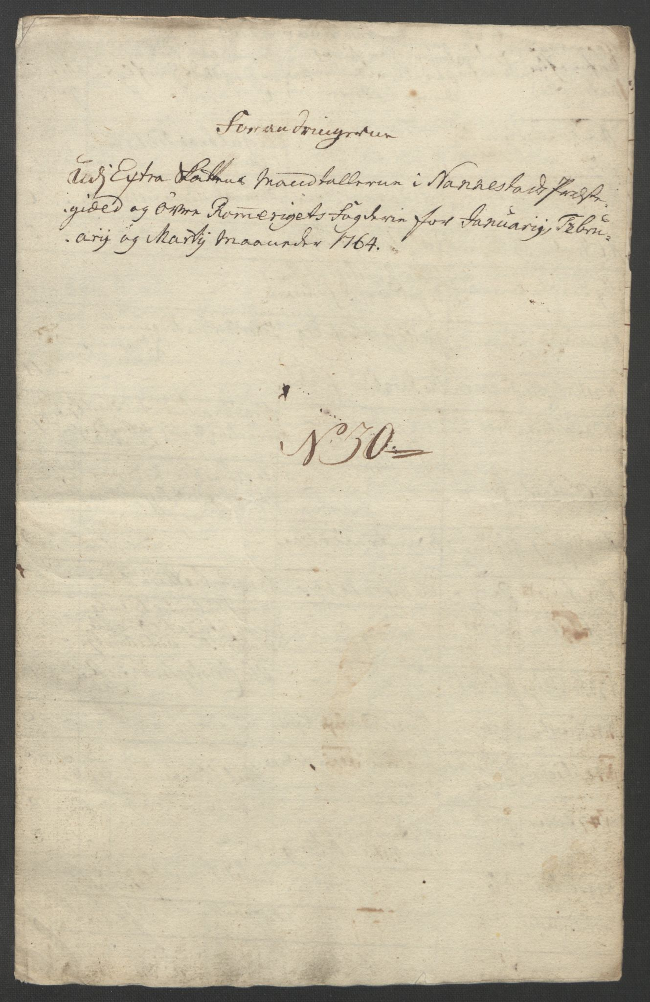 RA, Rentekammeret inntil 1814, Reviderte regnskaper, Fogderegnskap, R12/L0804: Ekstraskatten Øvre Romerike, 1764, s. 5