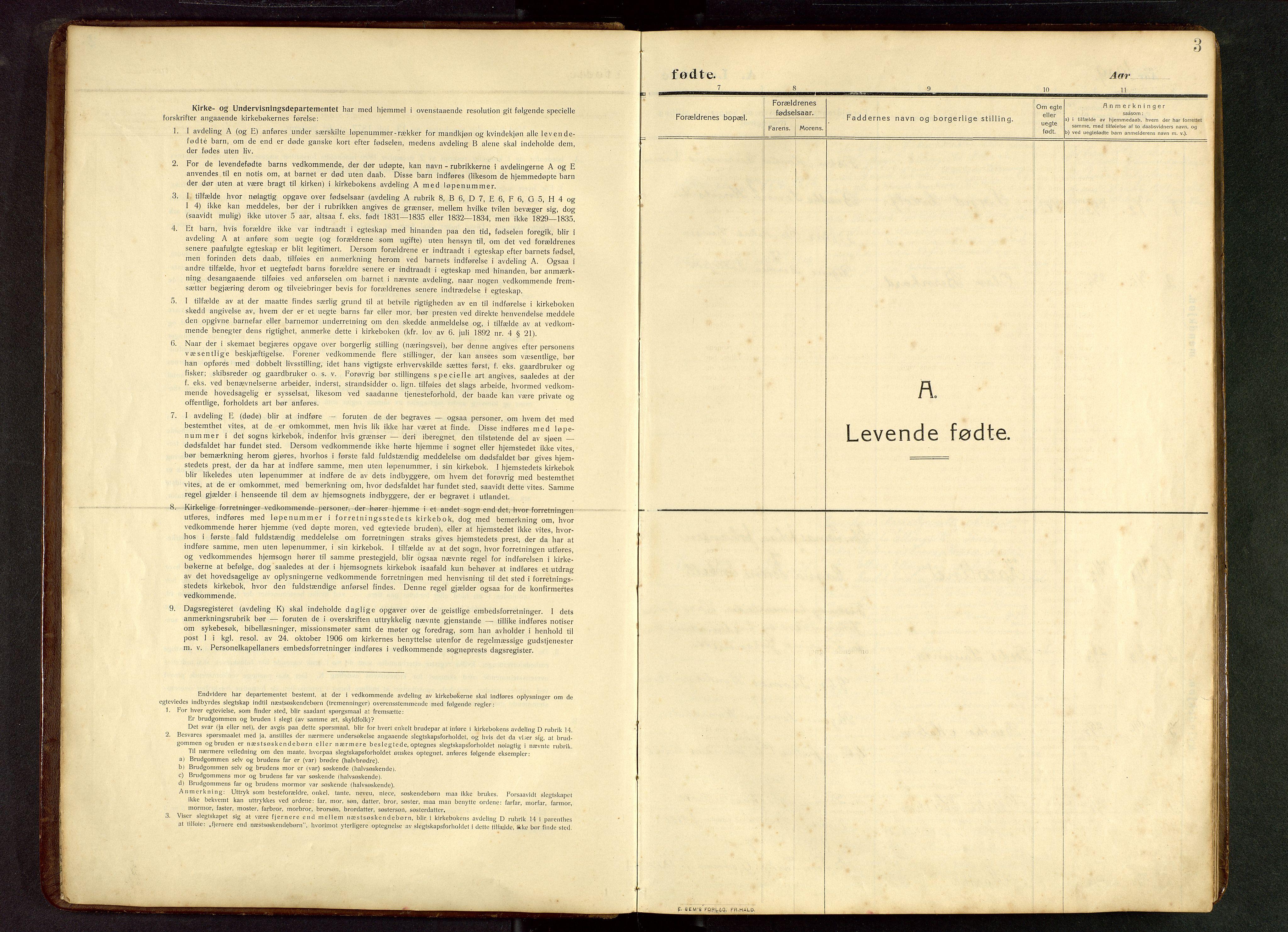 SAST, Torvastad sokneprestkontor, H/Ha/Hab/L0012: Klokkerbok nr. B 12, 1909-1945, s. 3