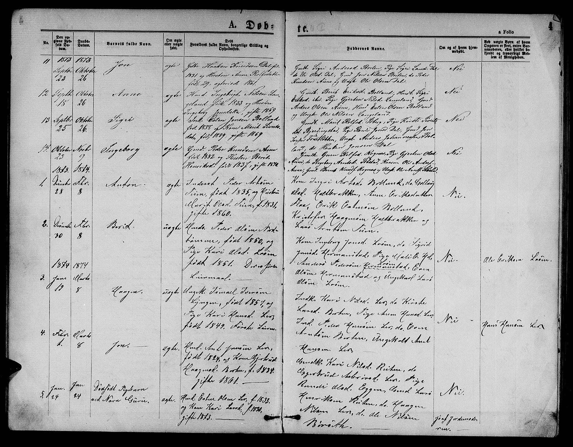 SAT, Ministerialprotokoller, klokkerbøker og fødselsregistre - Sør-Trøndelag, 693/L1122: Klokkerbok nr. 693C03, 1870-1886, s. 4