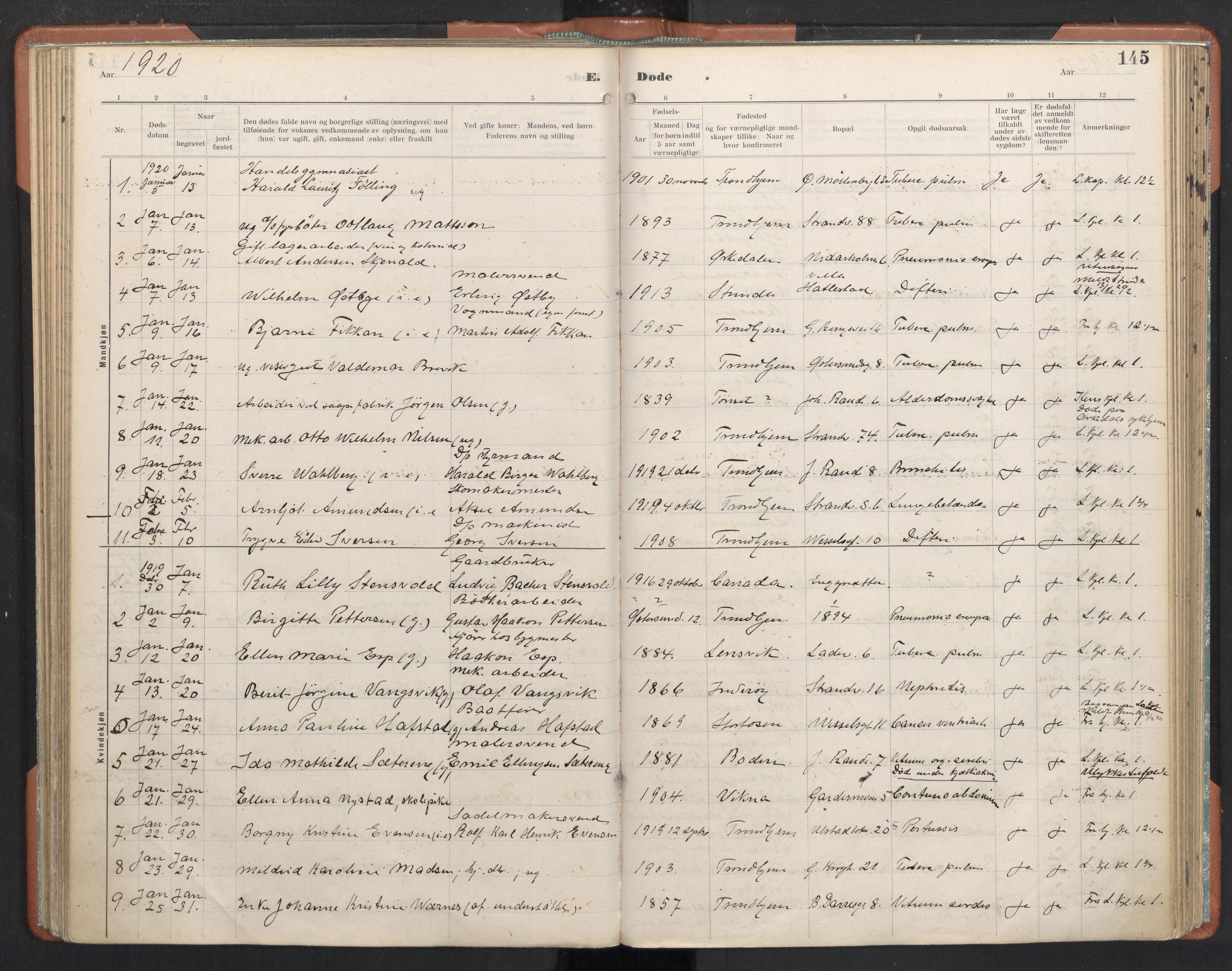 SAT, Ministerialprotokoller, klokkerbøker og fødselsregistre - Sør-Trøndelag, 605/L0245: Ministerialbok nr. 605A07, 1916-1938, s. 145