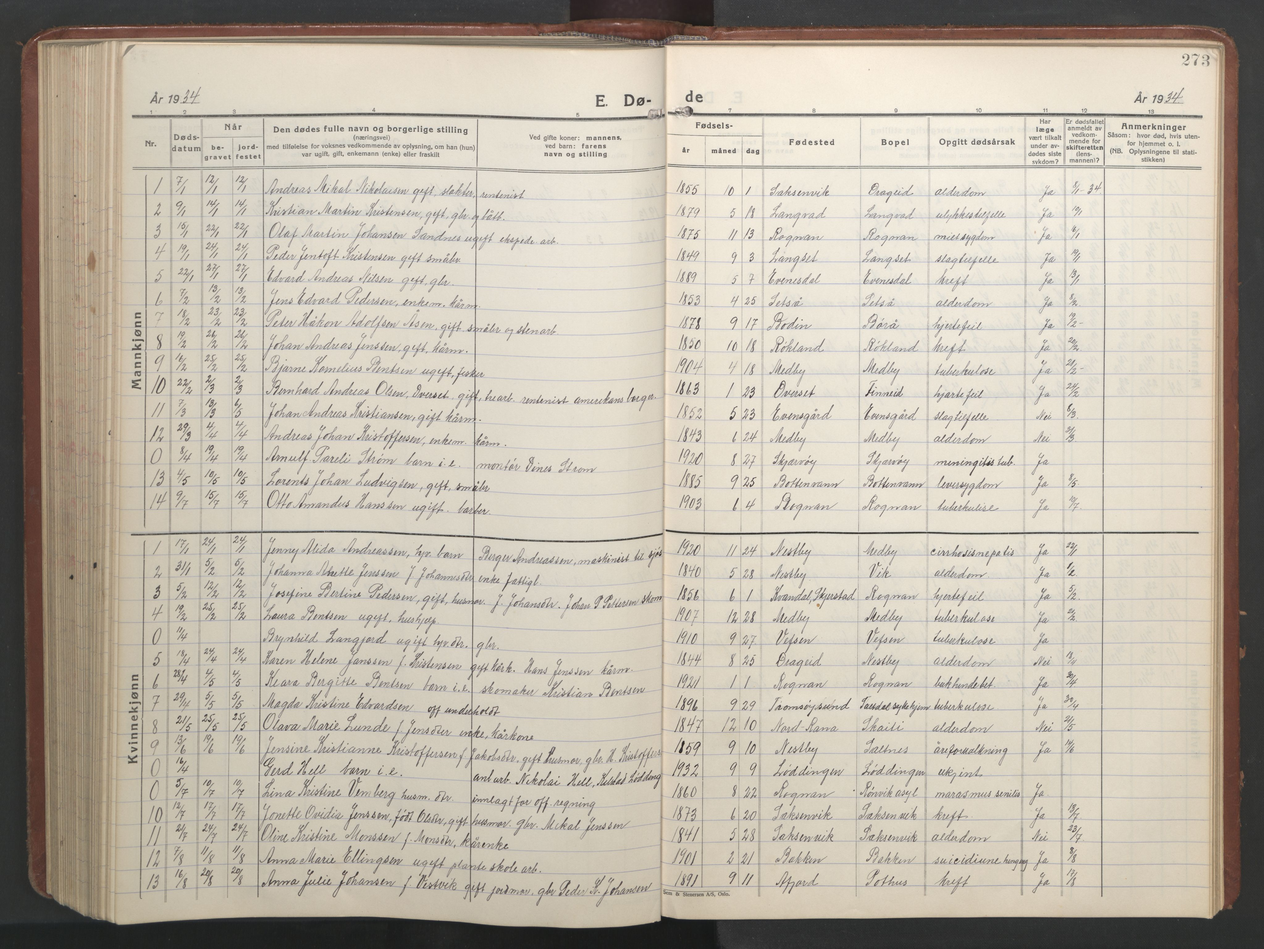 SAT, Ministerialprotokoller, klokkerbøker og fødselsregistre - Nordland, 847/L0680: Klokkerbok nr. 847C08, 1930-1947, s. 273