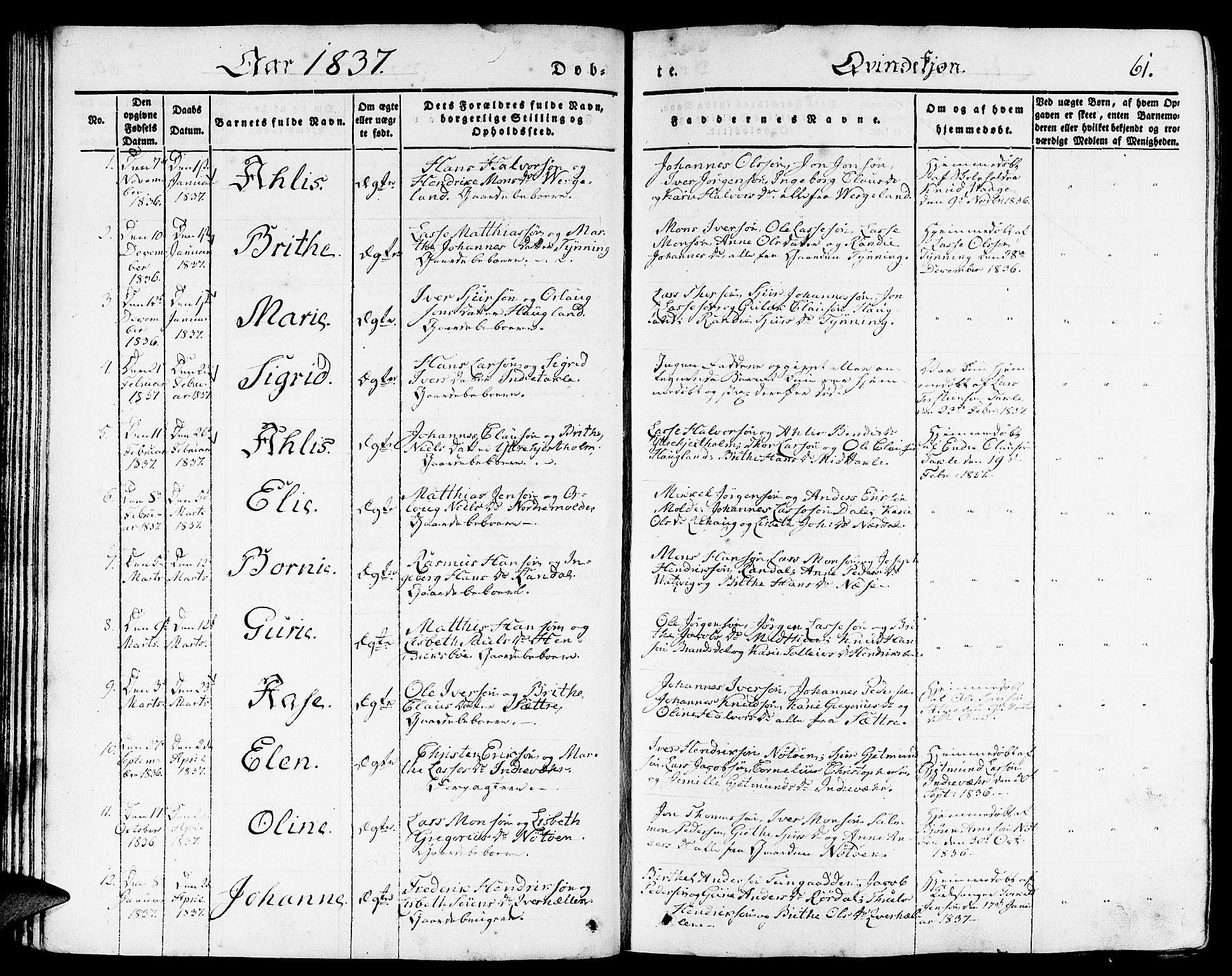 SAB, Gulen Sokneprestembete, Ministerialbok nr. A 20, 1837-1847, s. 61