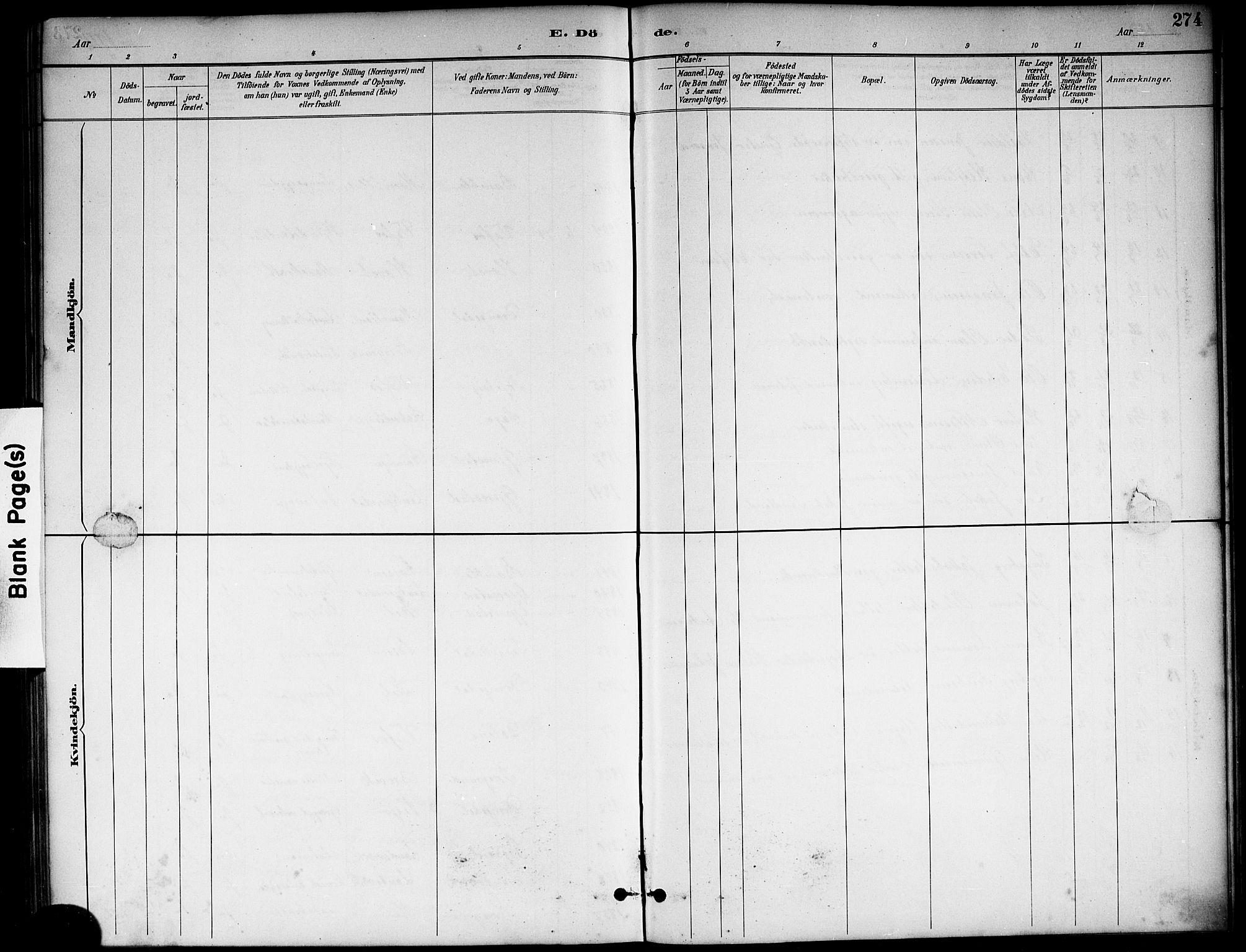 SAKO, Sannidal kirkebøker, G/Ga/L0003: Klokkerbok nr. 3, 1887-1922, s. 274