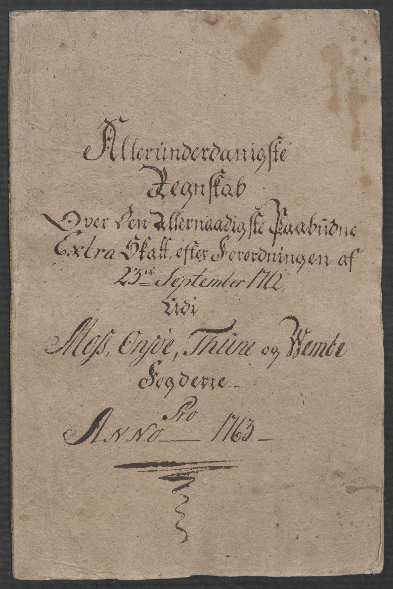 RA, Rentekammeret inntil 1814, Reviderte regnskaper, Fogderegnskap, R04/L0261: Ekstraskatten Moss, Onsøy, Tune, Veme og Åbygge, 1763, s. 5