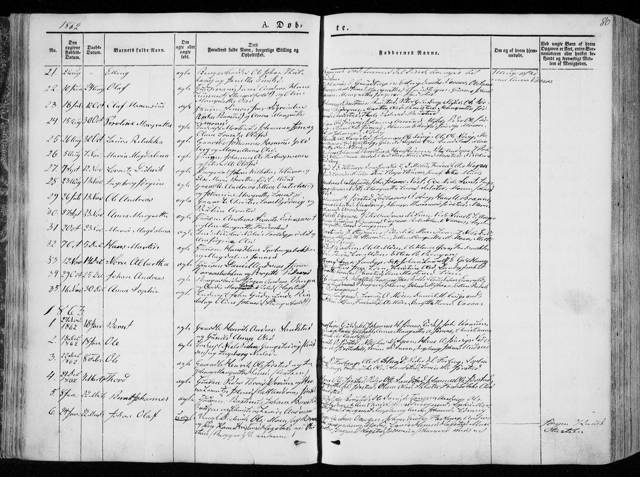 SAT, Ministerialprotokoller, klokkerbøker og fødselsregistre - Nord-Trøndelag, 722/L0218: Ministerialbok nr. 722A05, 1843-1868, s. 80