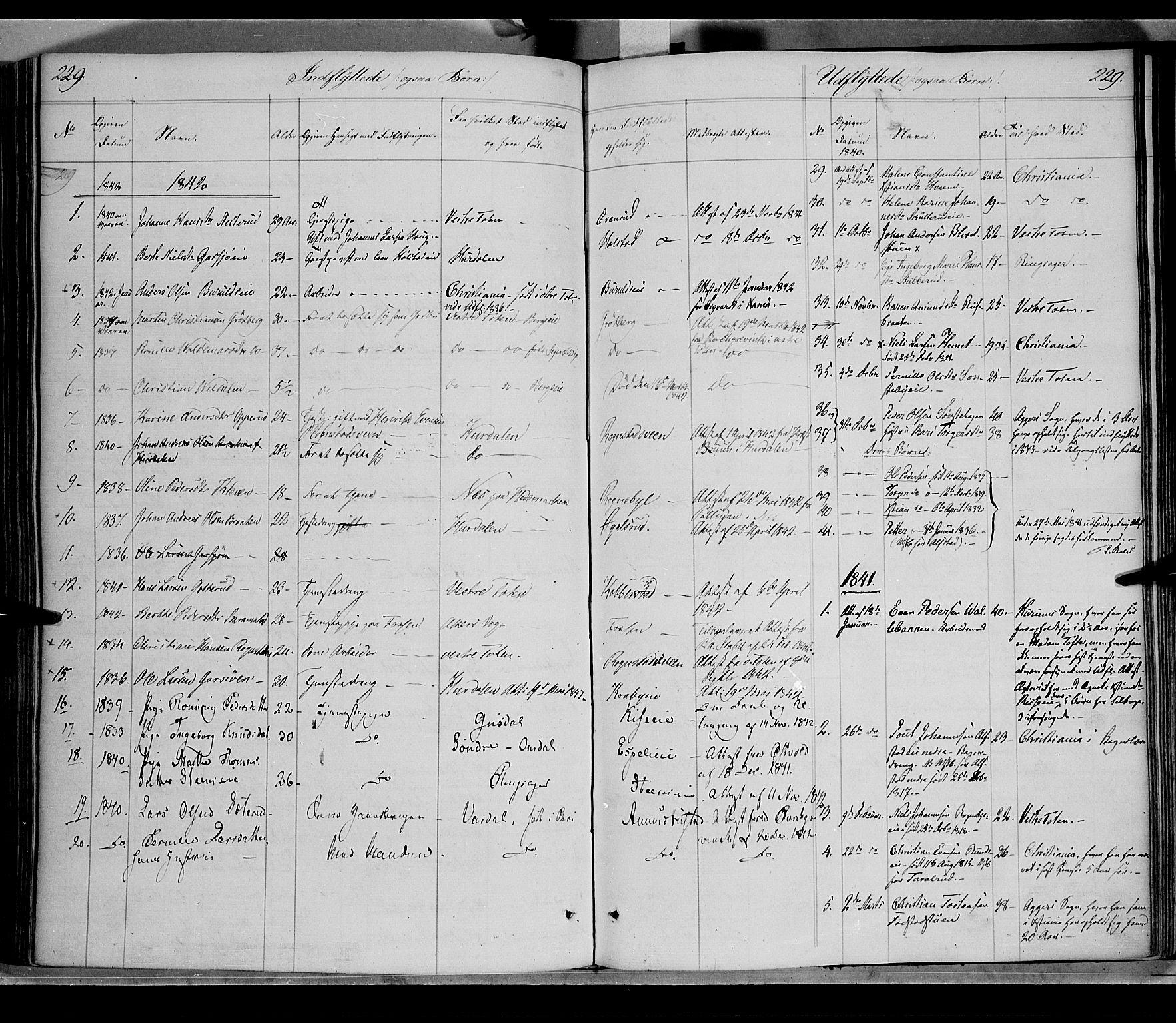 SAH, Østre Toten prestekontor, Ministerialbok nr. 2, 1840-1847, s. 229