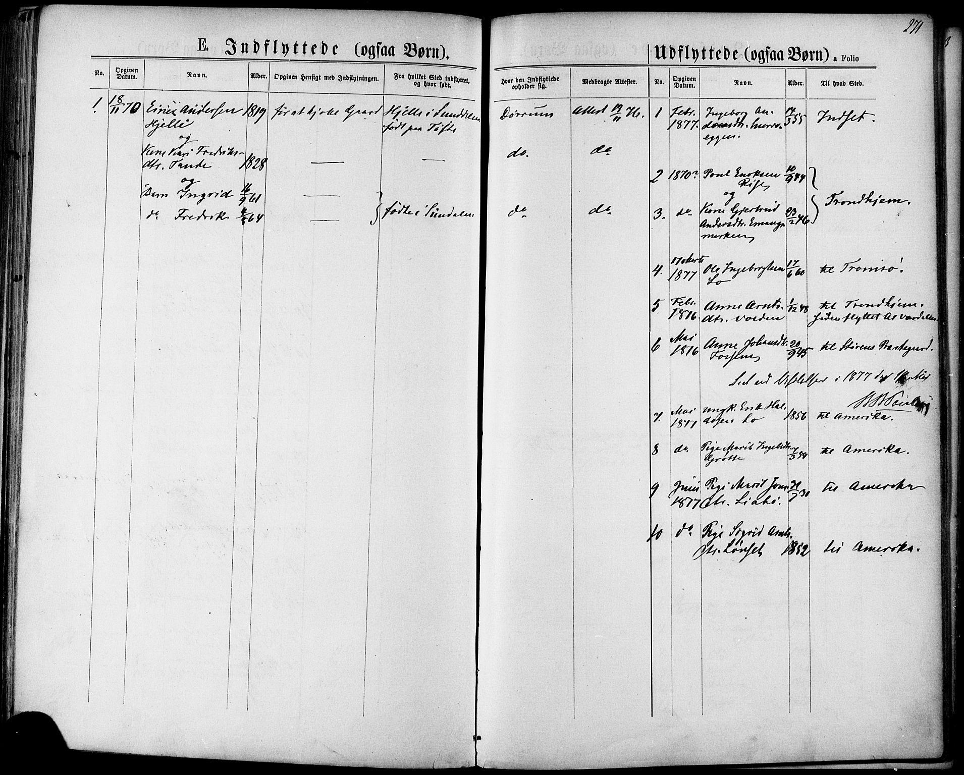 SAT, Ministerialprotokoller, klokkerbøker og fødselsregistre - Sør-Trøndelag, 678/L0900: Ministerialbok nr. 678A09, 1872-1881, s. 271