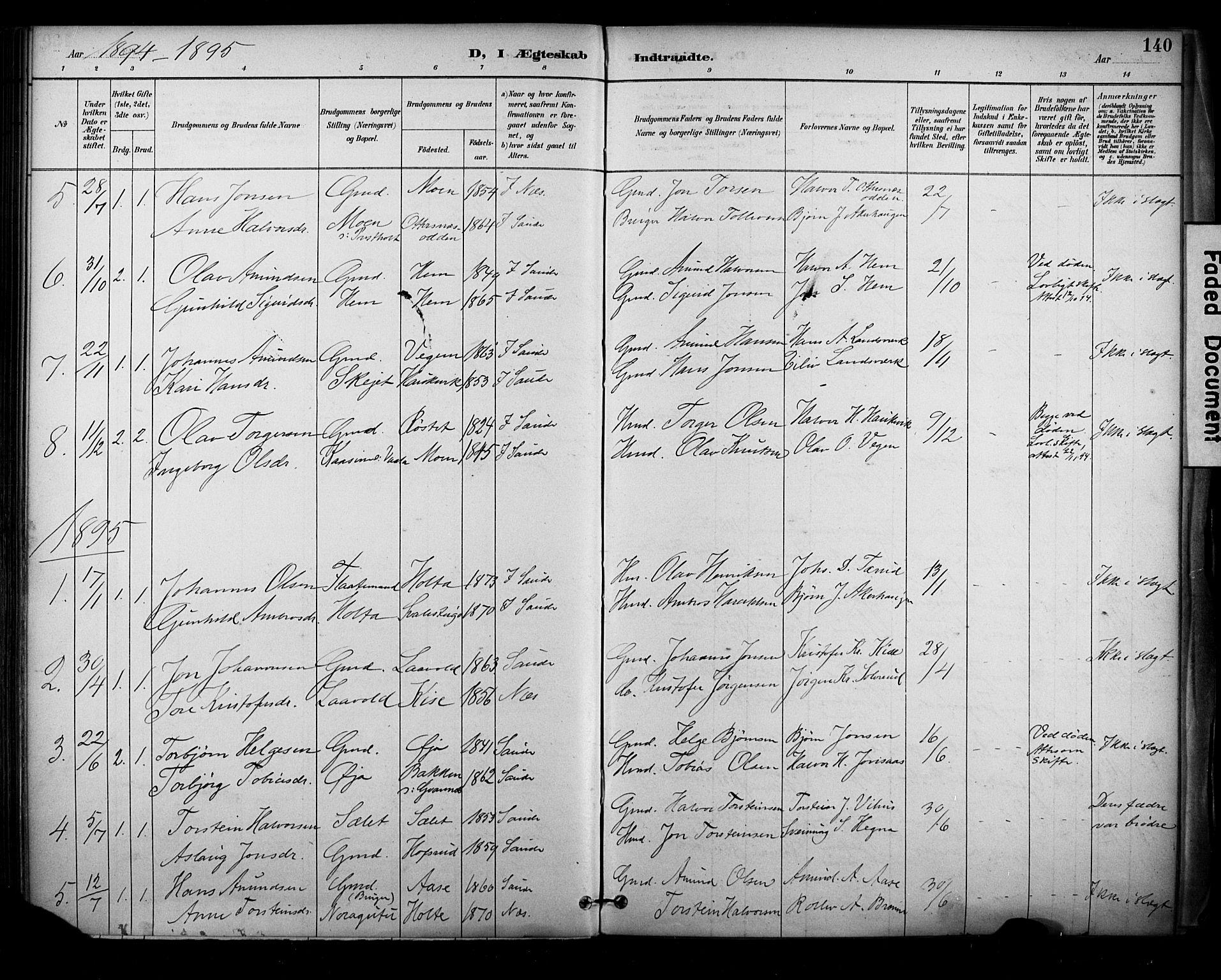 SAKO, Sauherad kirkebøker, F/Fa/L0009: Ministerialbok nr. I 9, 1887-1912, s. 140
