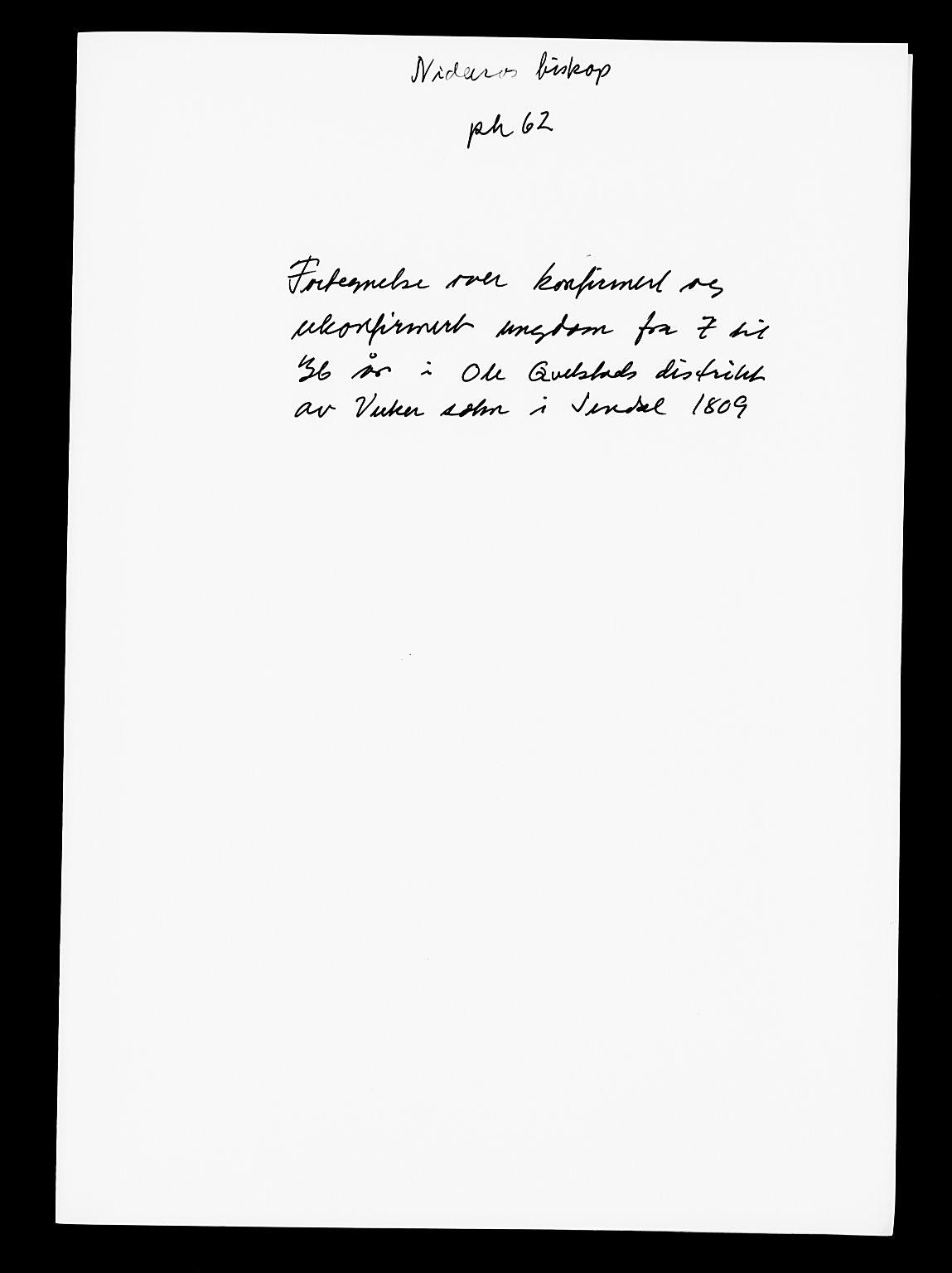 SAT, Nidaros biskop*, 1809, s. upaginert