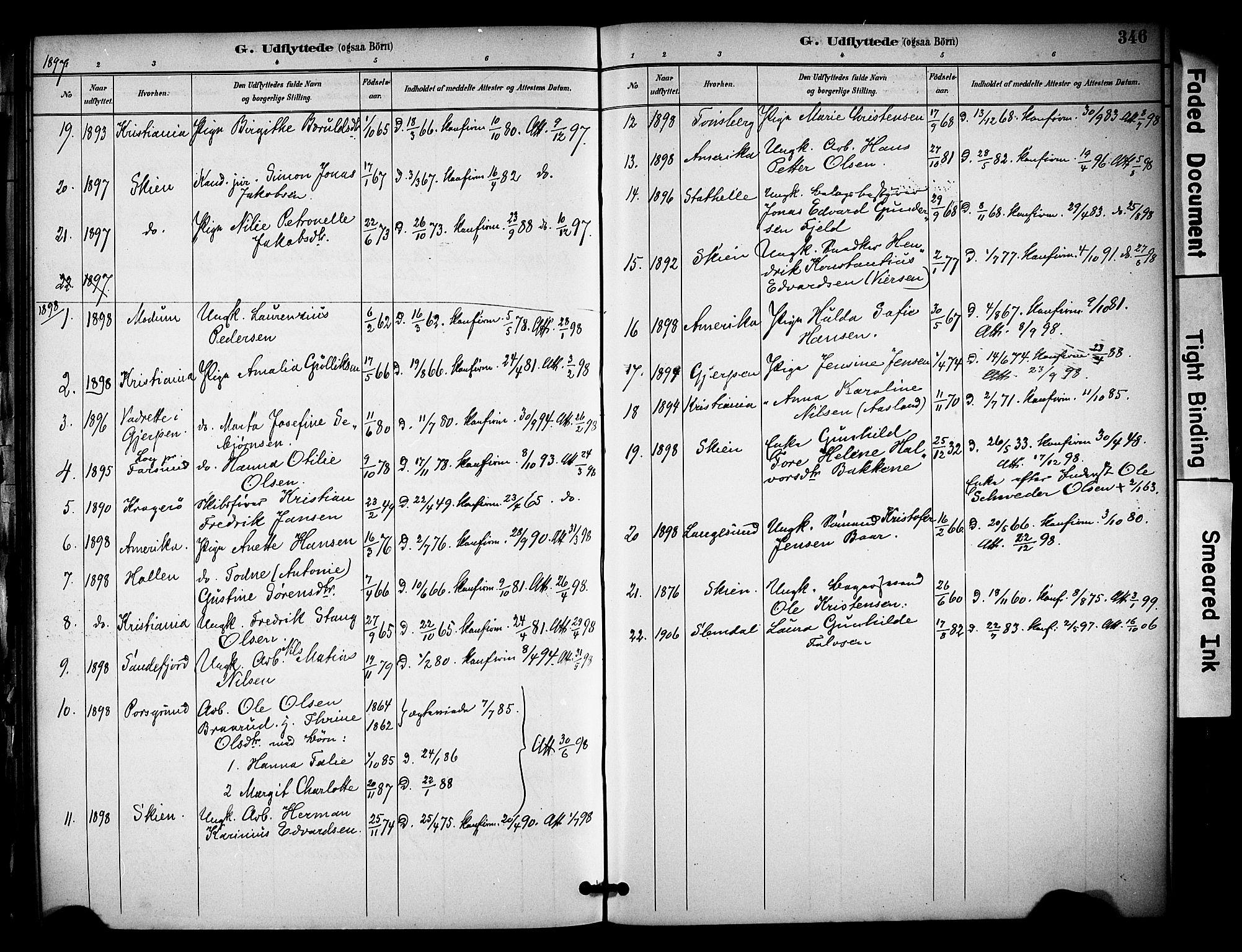 SAKO, Solum kirkebøker, F/Fa/L0010: Ministerialbok nr. I 10, 1888-1898, s. 346