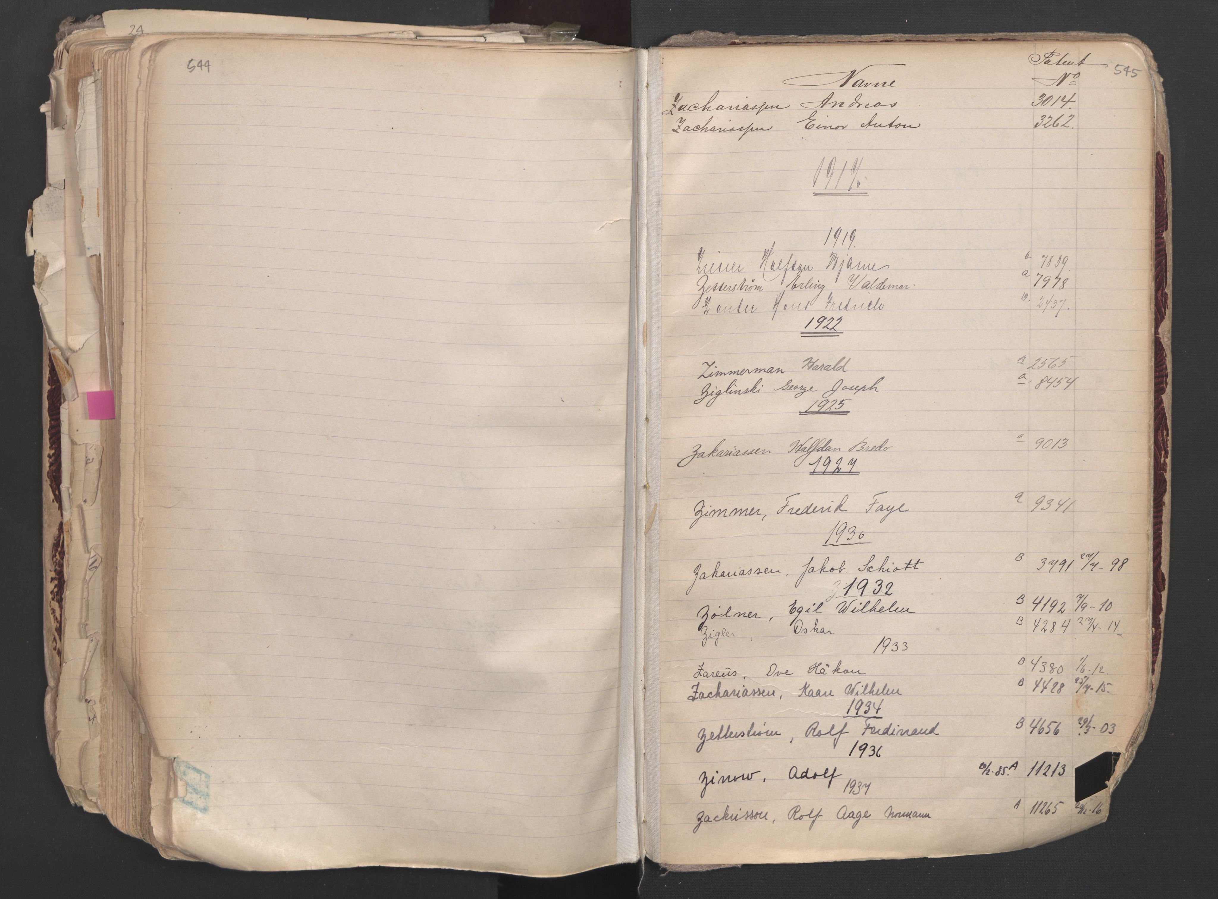 SAO, Oslo sjømannskontor, F/Fa/L0003: Register for Oslo mønstringskrets, 1891-1948, s. 544-545